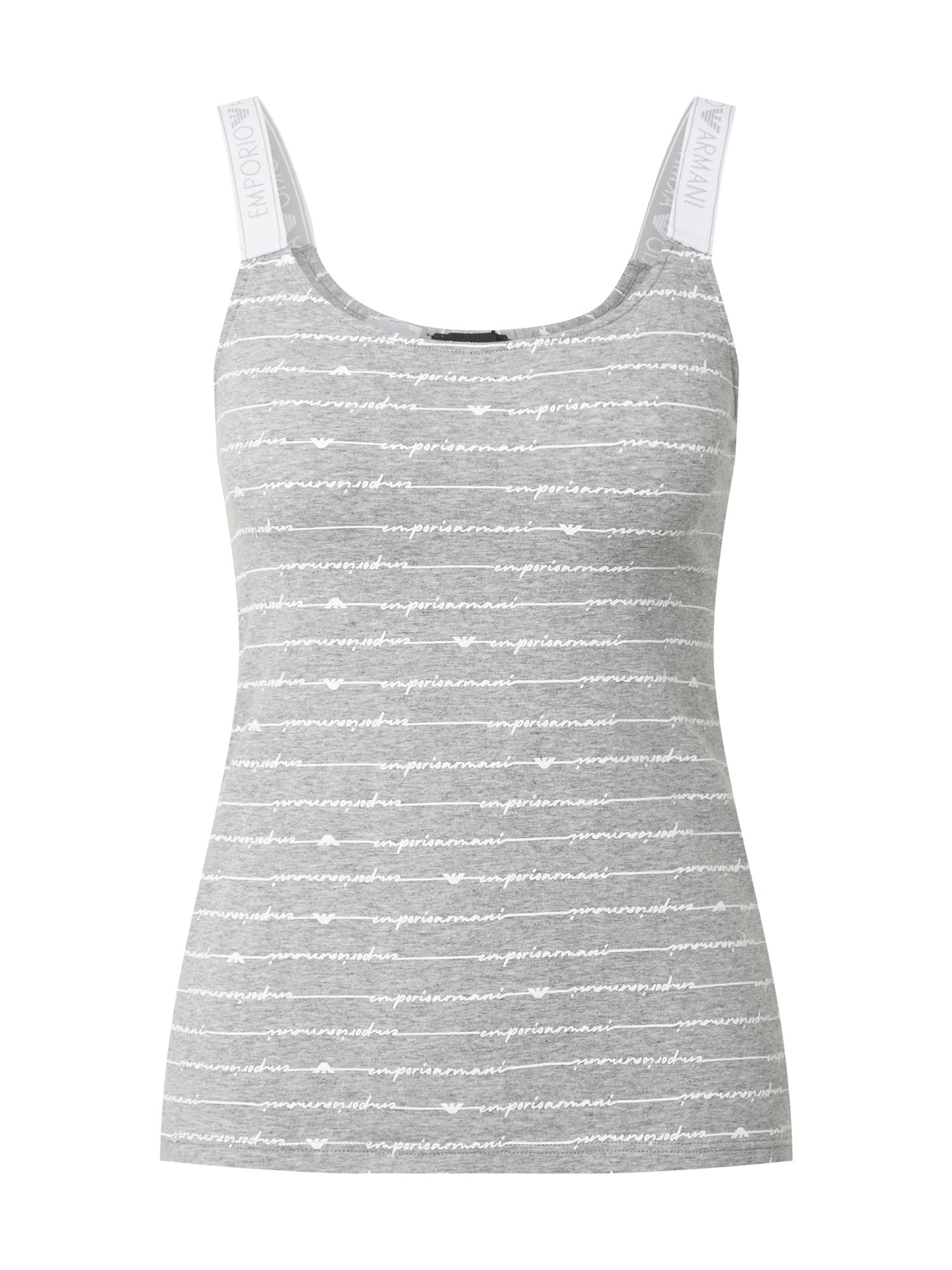 Emporio Armani Pižaminiai marškinėliai margai pilka / balta