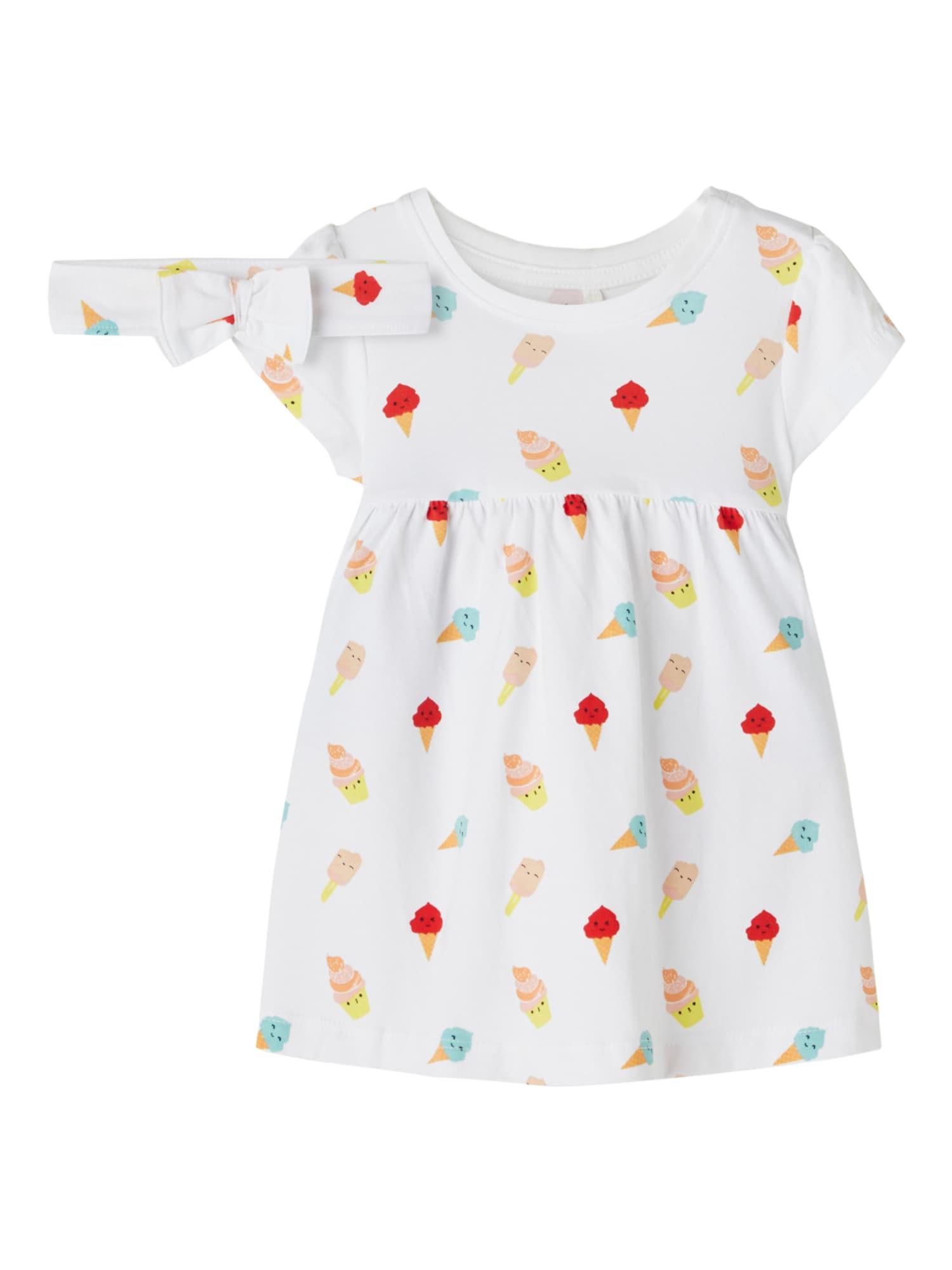 NAME IT Suknelė 'JILLY' balta / spanguolių spalva / geltona / turkio spalva / rožinė