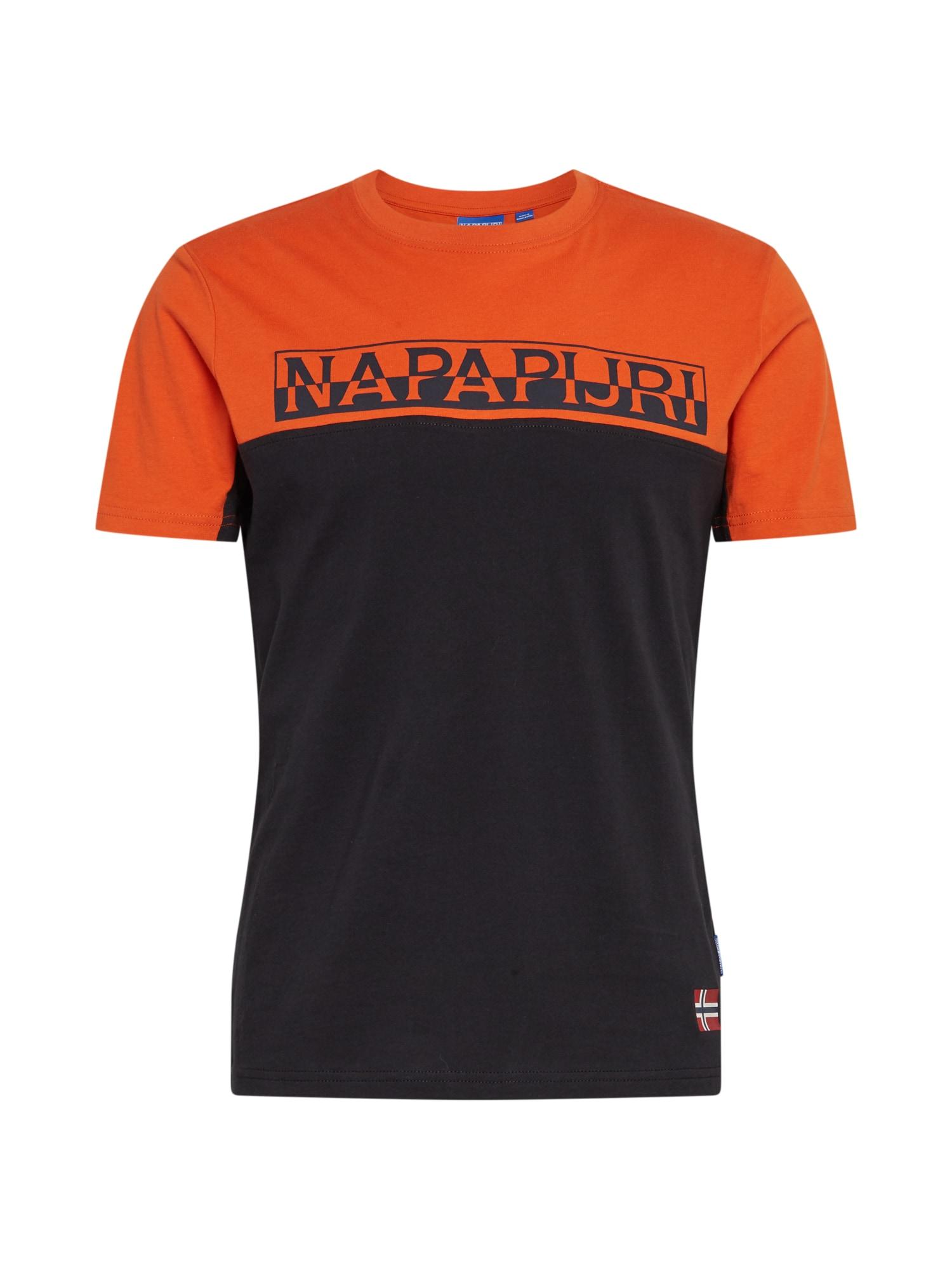 NAPAPIJRI Tričko 'S-ICE SS CB'  černá / oranžová