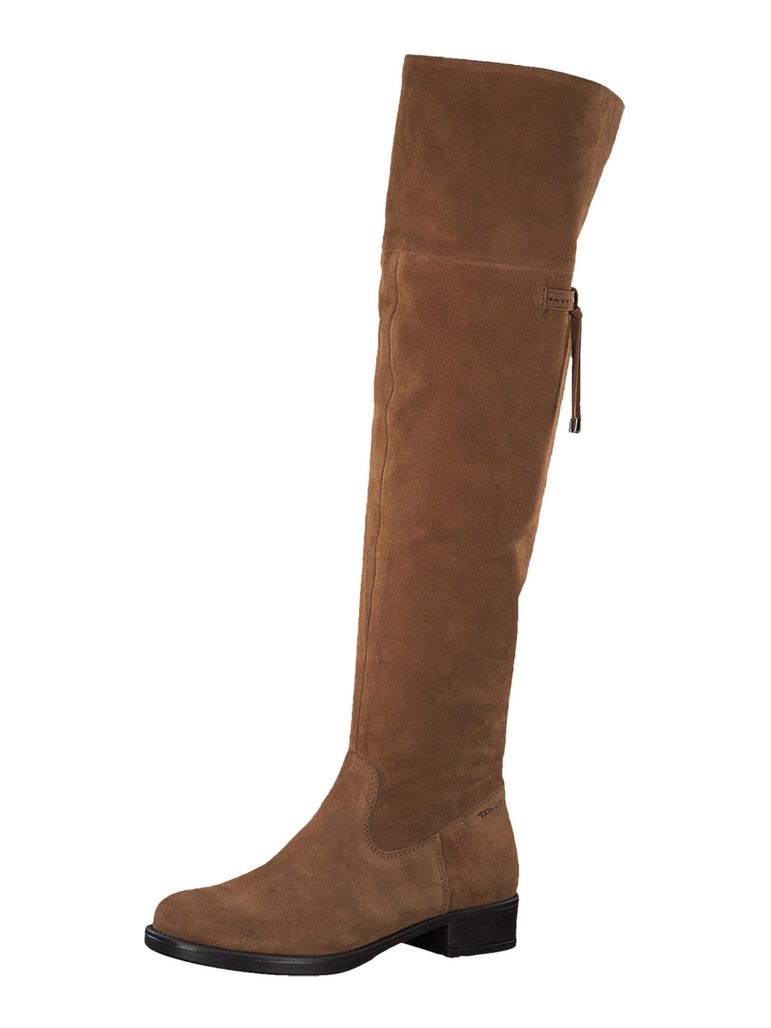 TAMARIS Ilgaauliai batai virš kelių tamsiai ruda