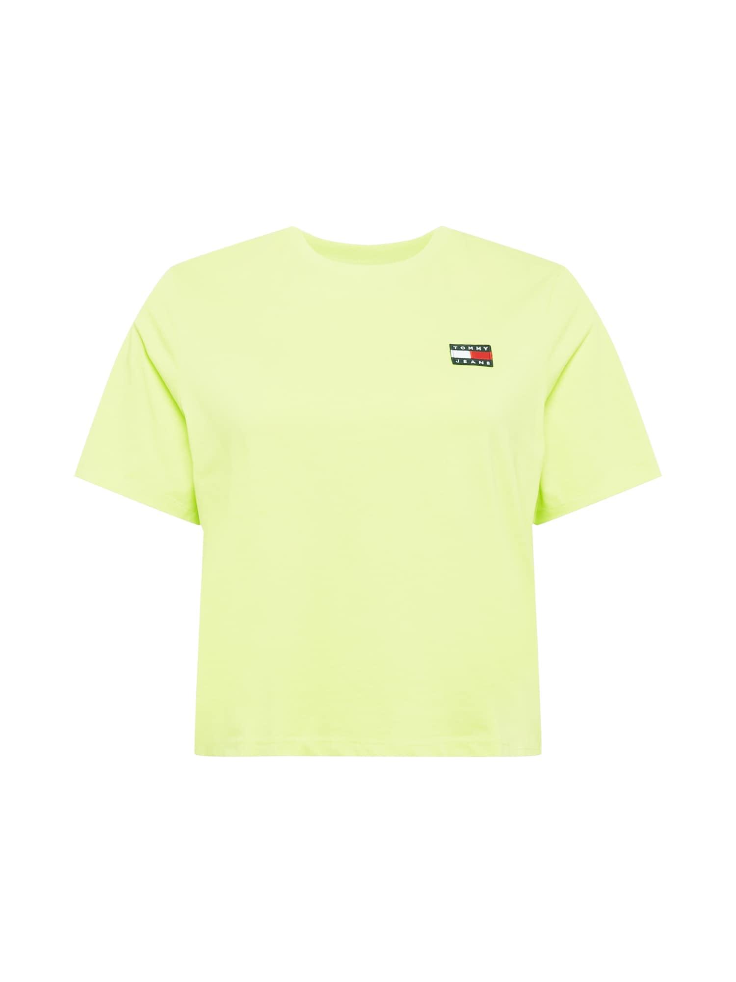 Tommy Jeans Curve Marškinėliai žaliosios citrinos spalva / nakties mėlyna / balta / šviesiai raudona