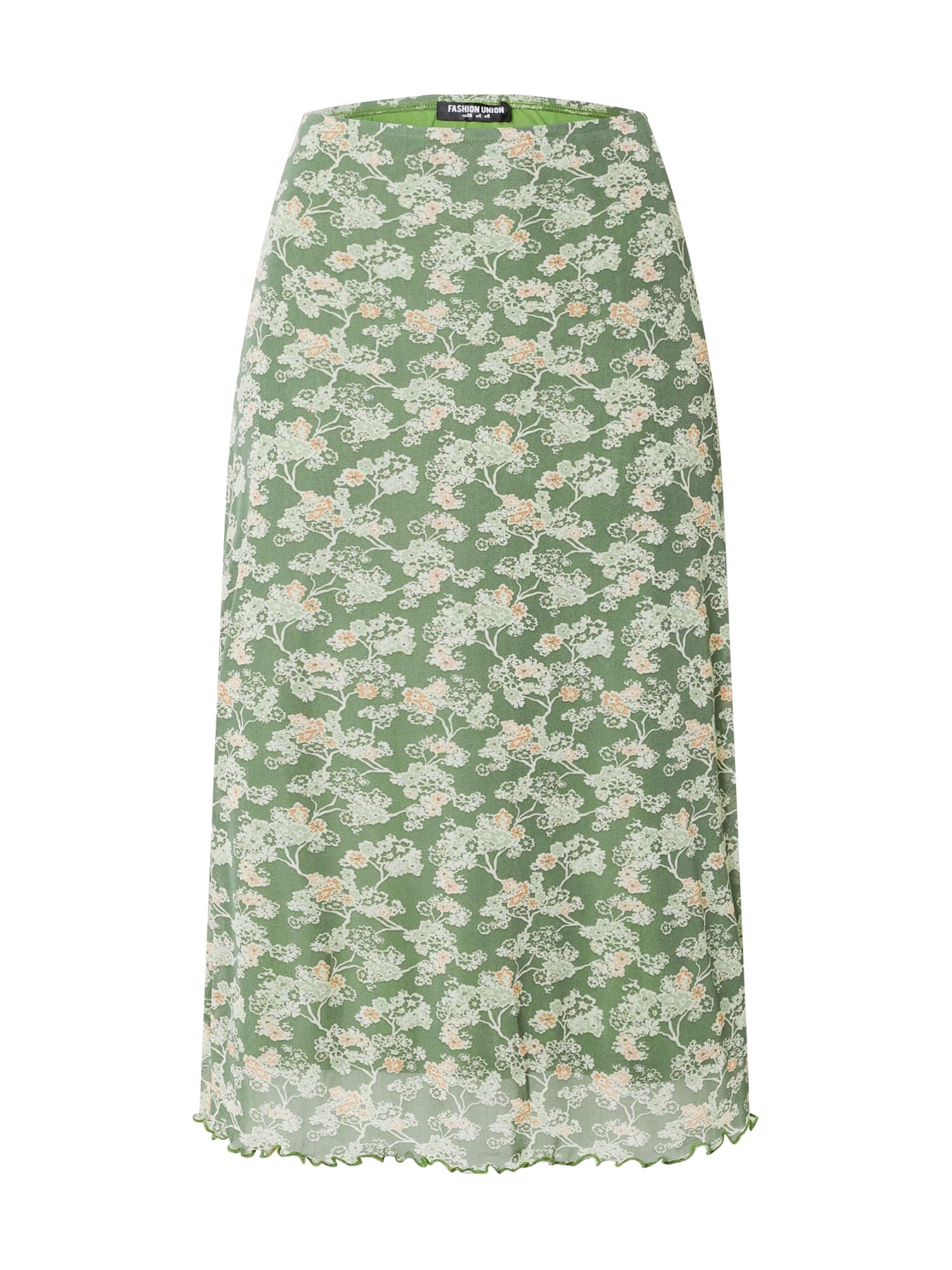 Fashion Union Sijonas šviesiai žalia / balta / koralų splava