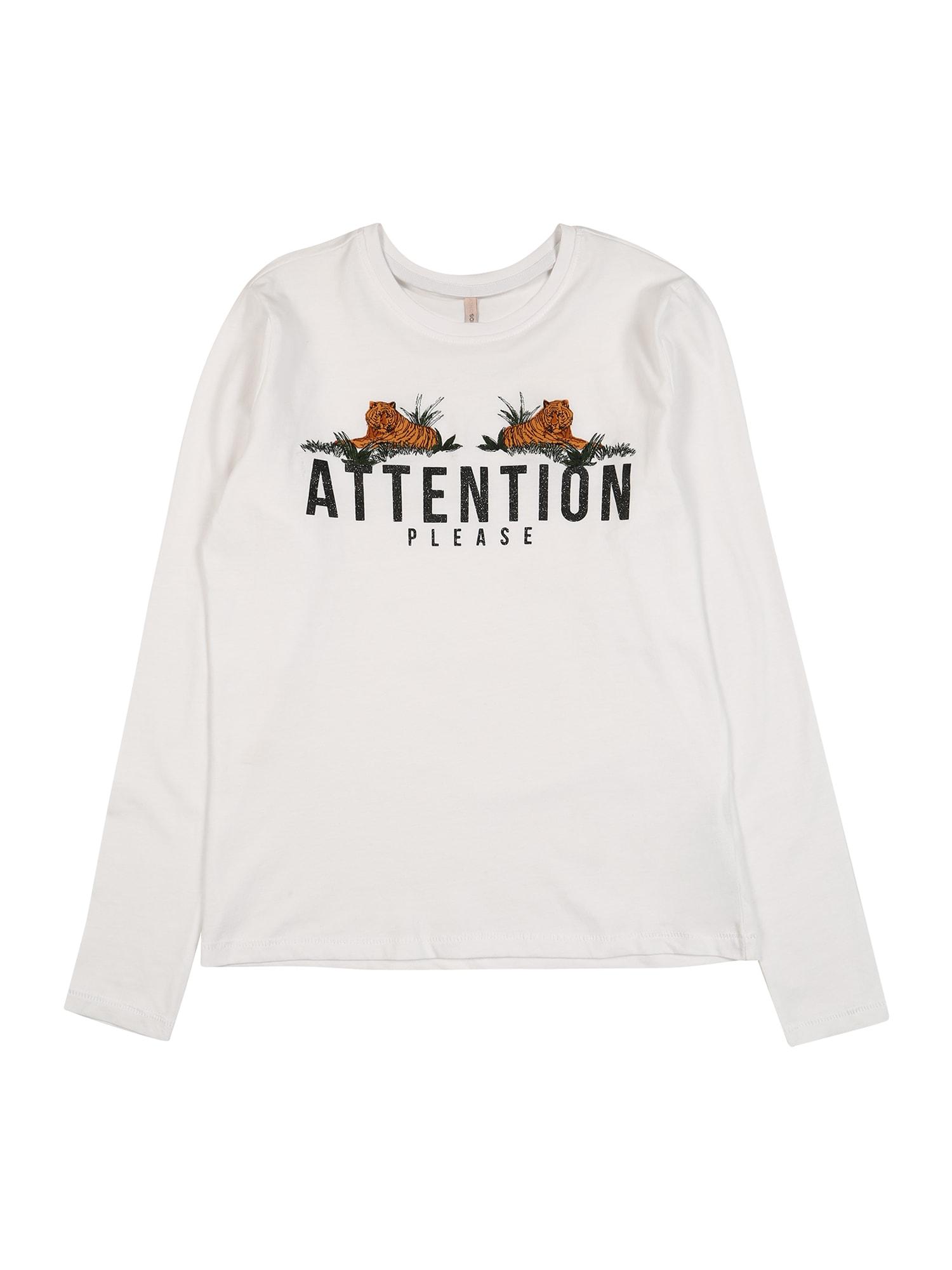 KIDS ONLY Tričko  přírodní bílá / tmavě oranžová / černá