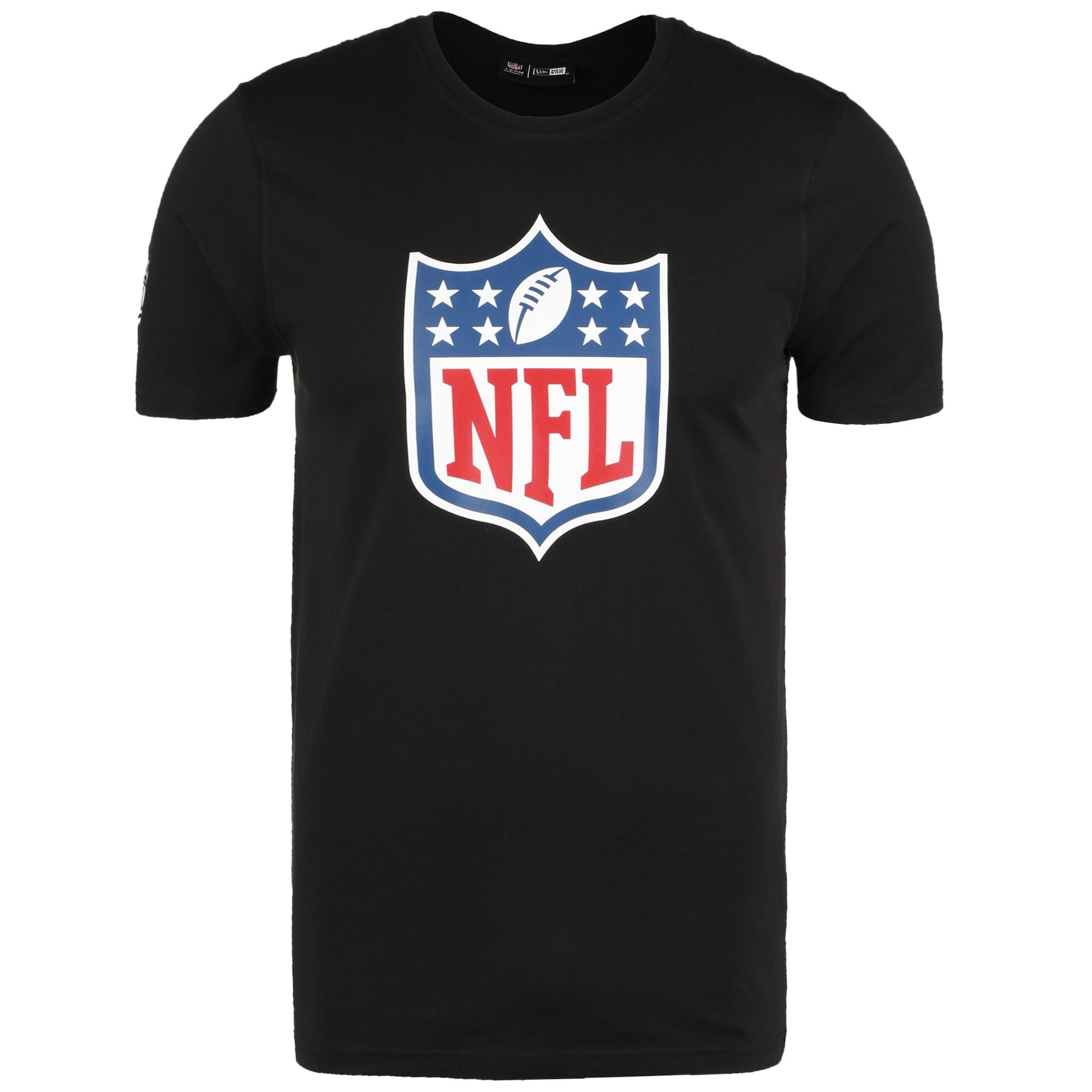 NEW ERA Marškinėliai juoda / mėlyna / balta / šviesiai raudona