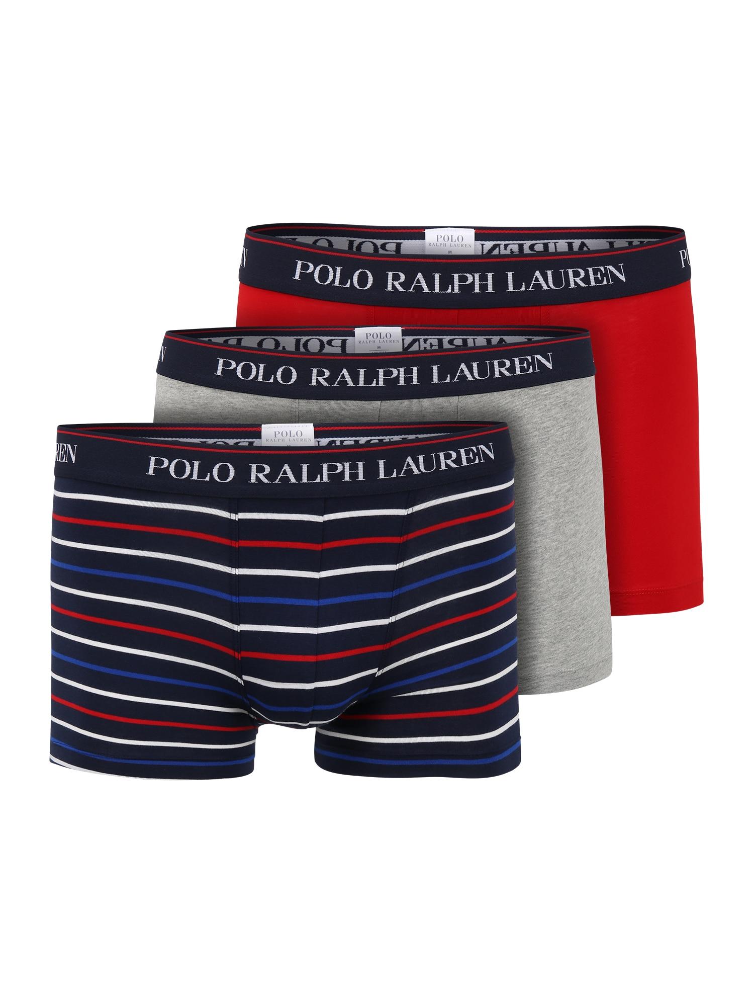 POLO RALPH LAUREN Boxer trumpikės tamsiai mėlyna / balta / raudona / margai pilka