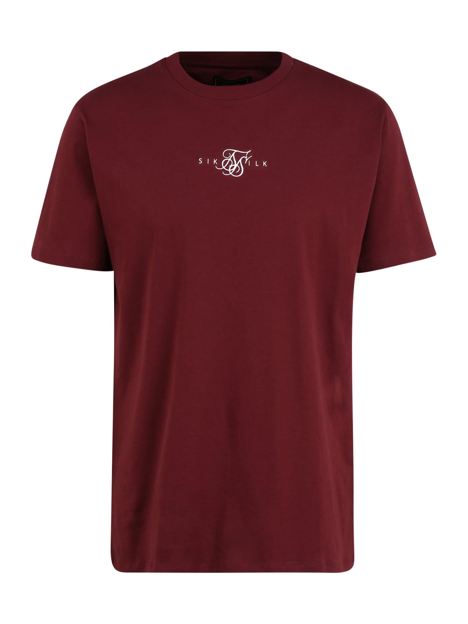 SikSilk Marškinėliai burgundiško vyno spalva / balta