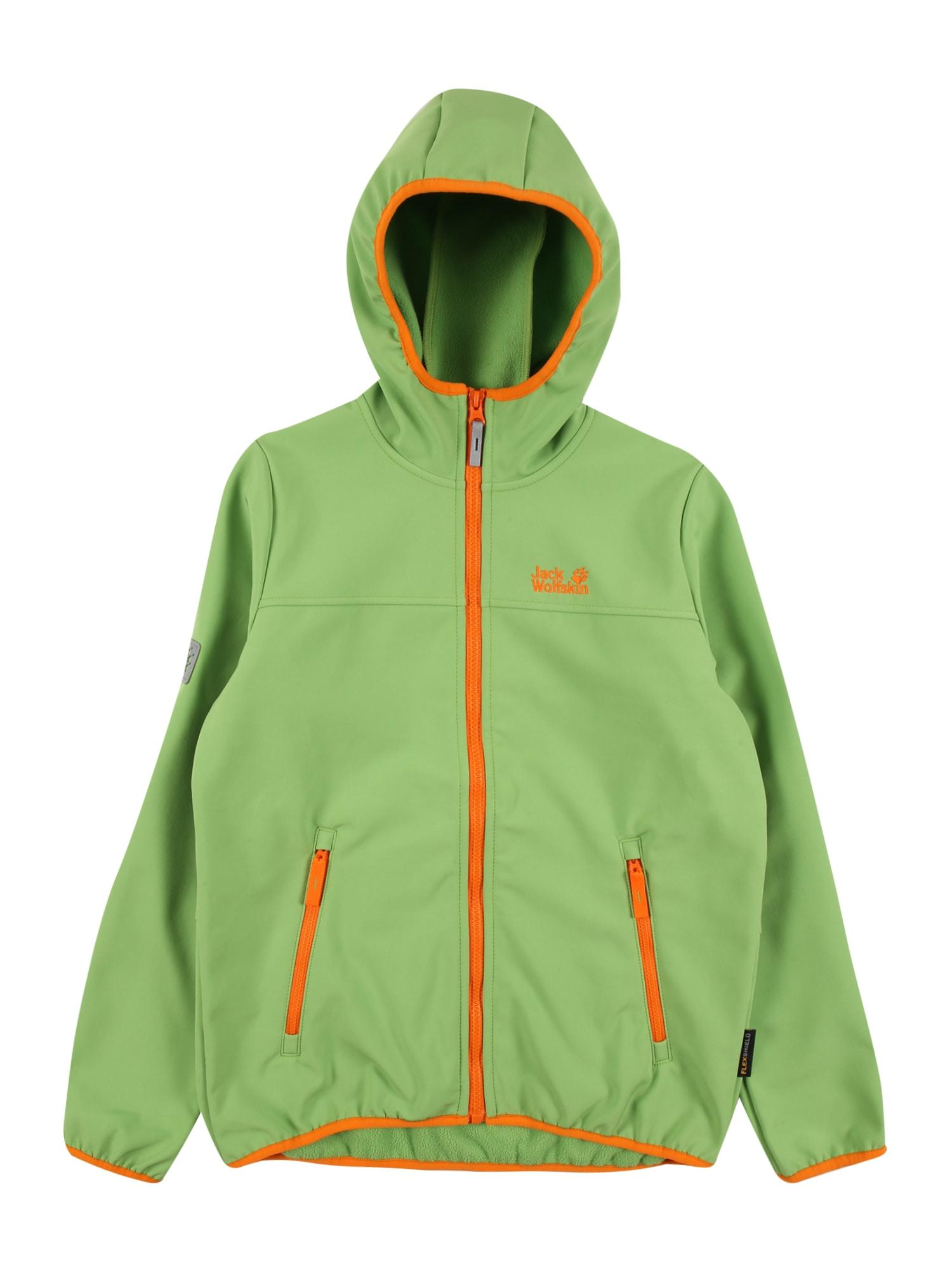 JACK WOLFSKIN Funkcinė striukė 'Four Winds' šviesiai žalia / oranžinė