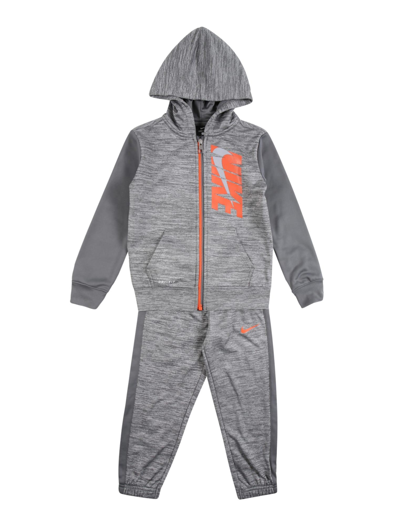 NIKE Treniruočių kostiumas pilka / oranžinė / tamsiai pilka