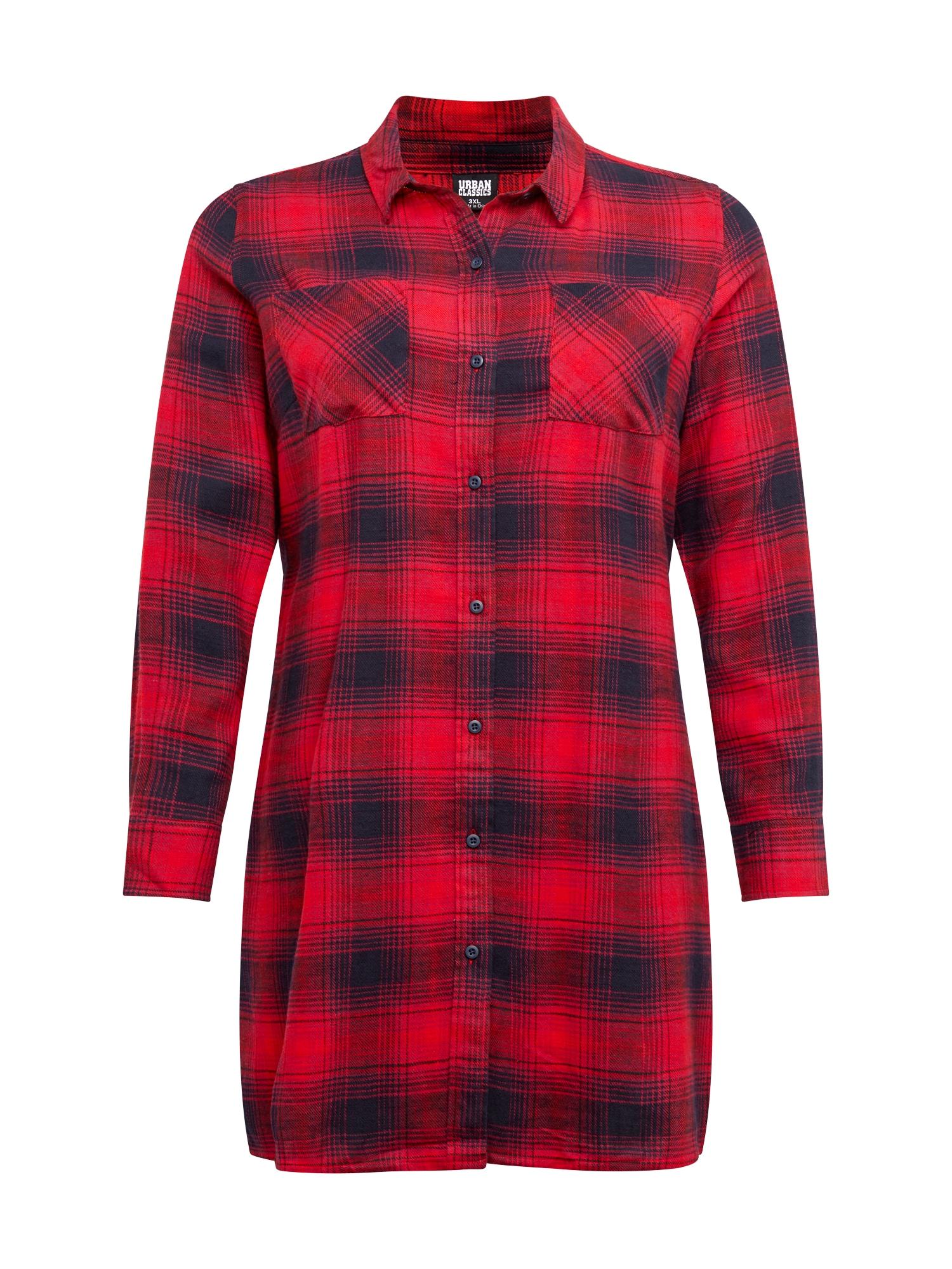 Urban Classics Curvy Košilové šaty 'Check'  červená / tmavě modrá