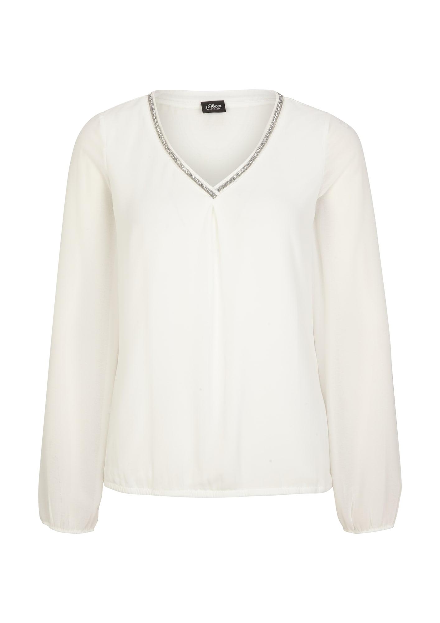 s.Oliver BLACK LABEL Marškinėliai balta / sidabrinė