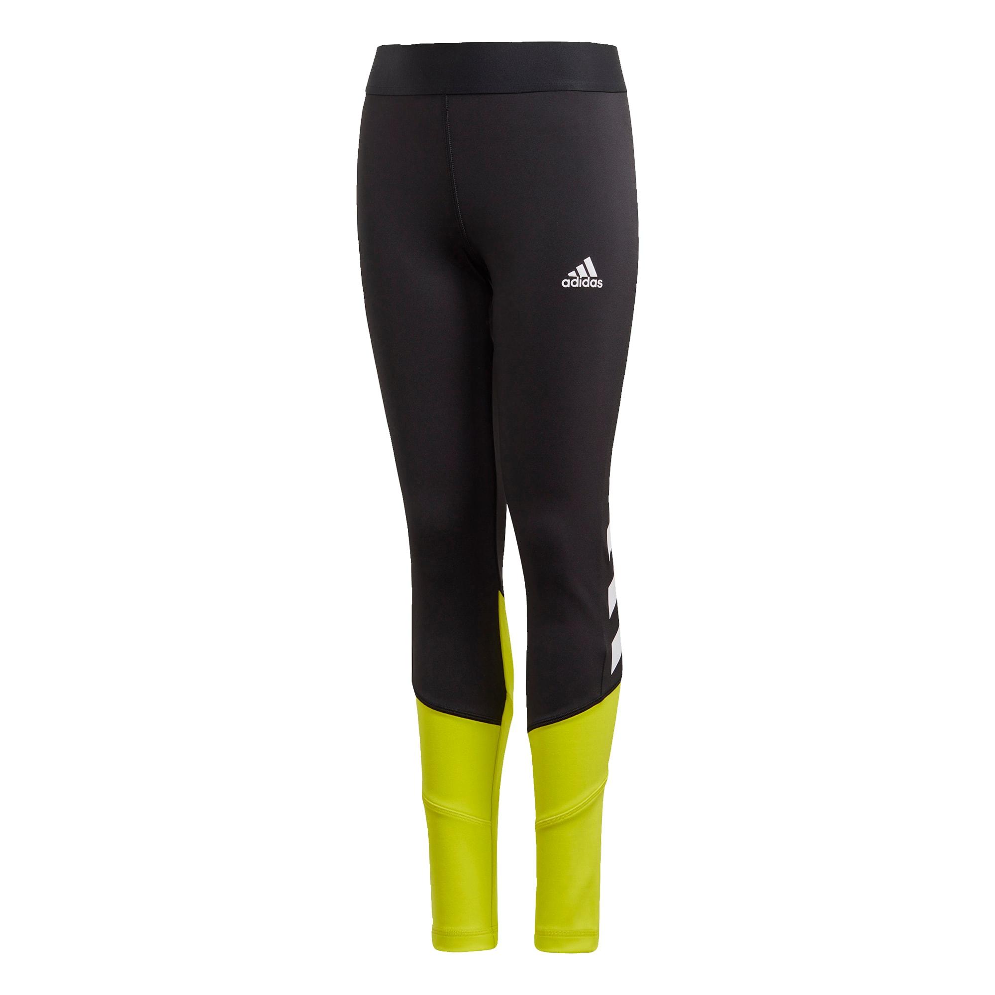ADIDAS PERFORMANCE Sportinės kelnės juoda / balta / geltona