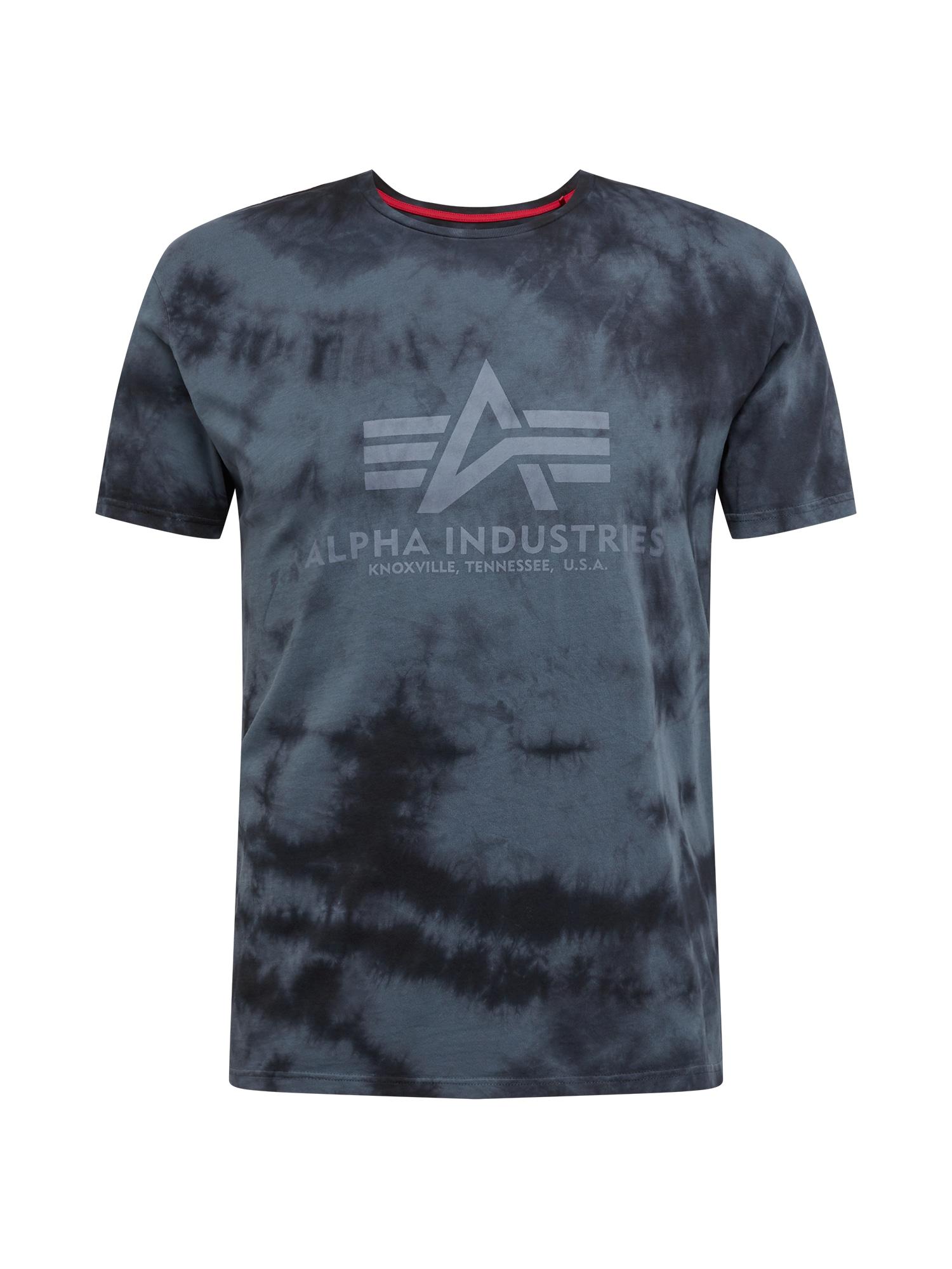 ALPHA INDUSTRIES Marškinėliai juoda / pilka