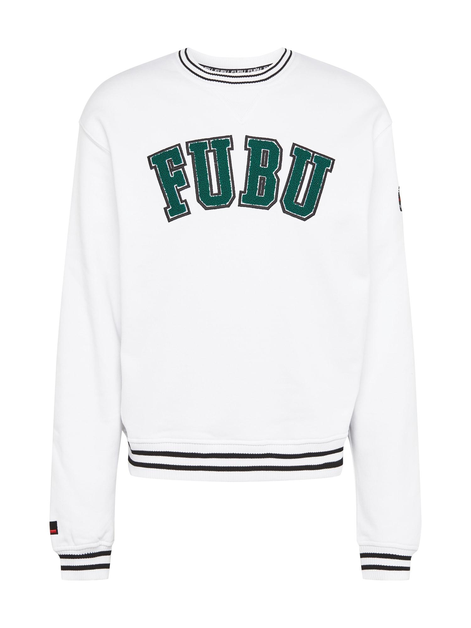 FUBU Megztinis be užsegimo balta / smaragdinė spalva / juoda