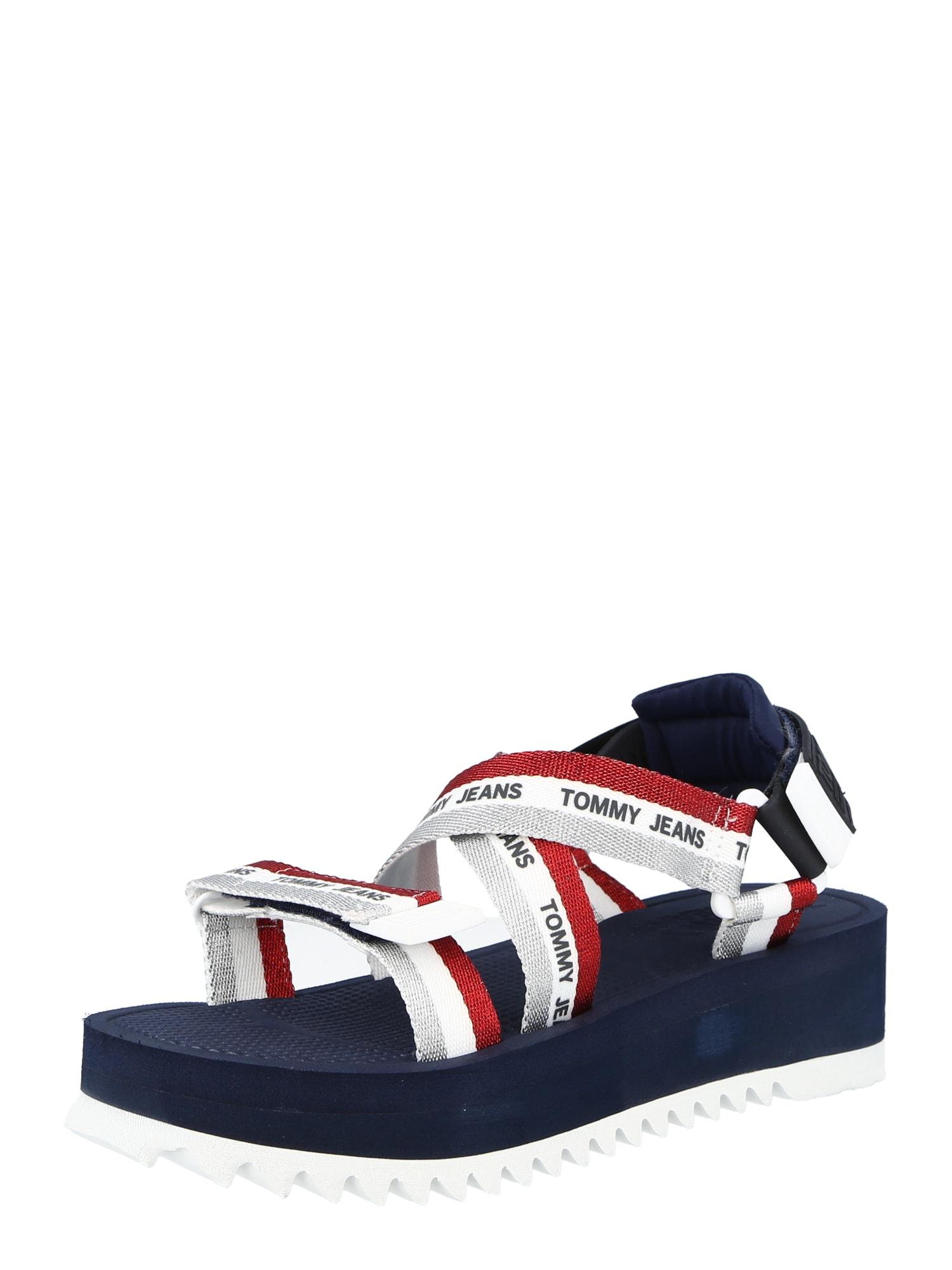 Tommy Jeans Sandalai tamsiai mėlyna / balta / raudona / sidabro pilka