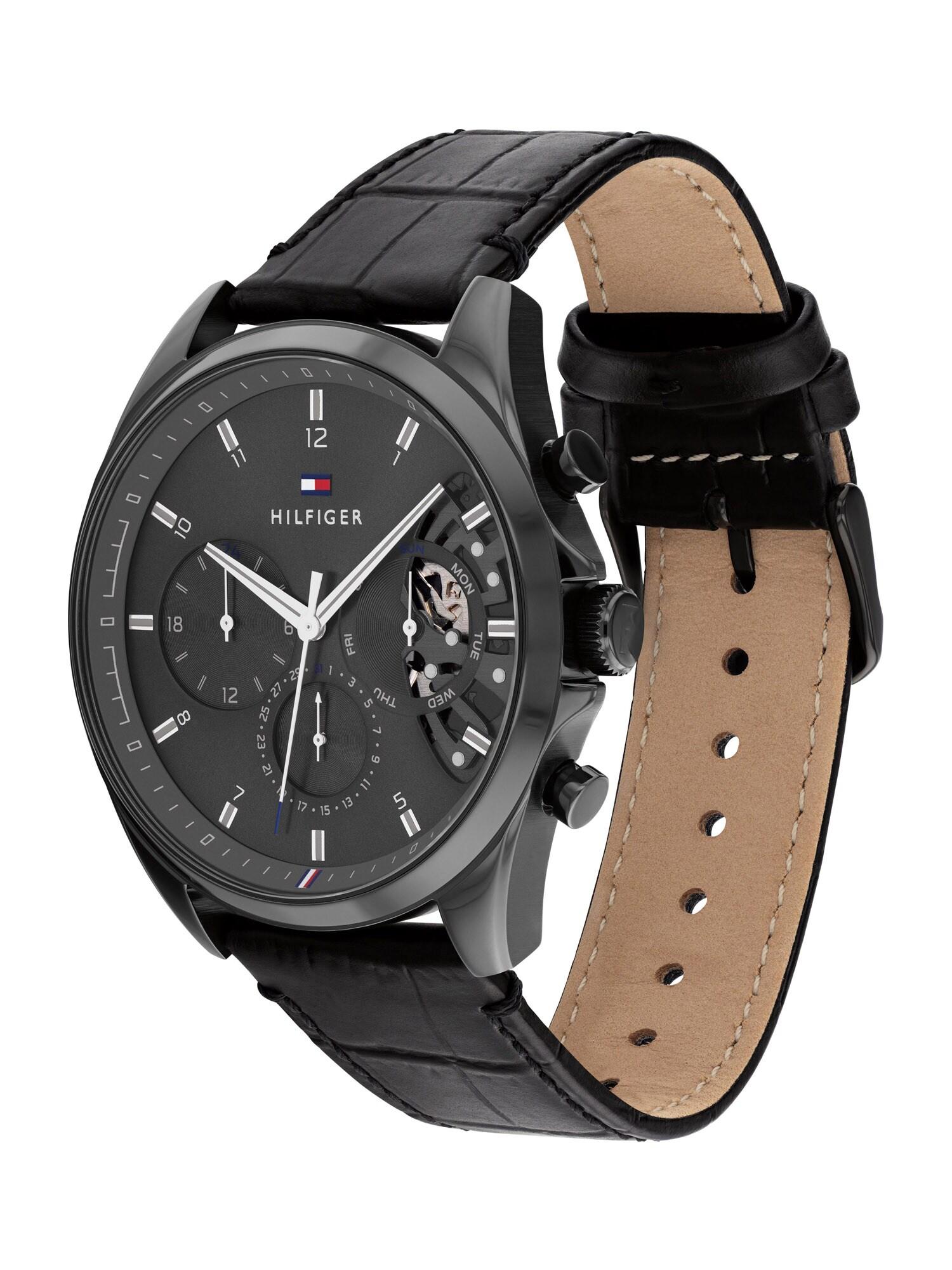 TOMMY HILFIGER Analoginis (įprasto dizaino) laikrodis juoda / šviesiai pilka / balta / tamsiai mėlyna / raudona