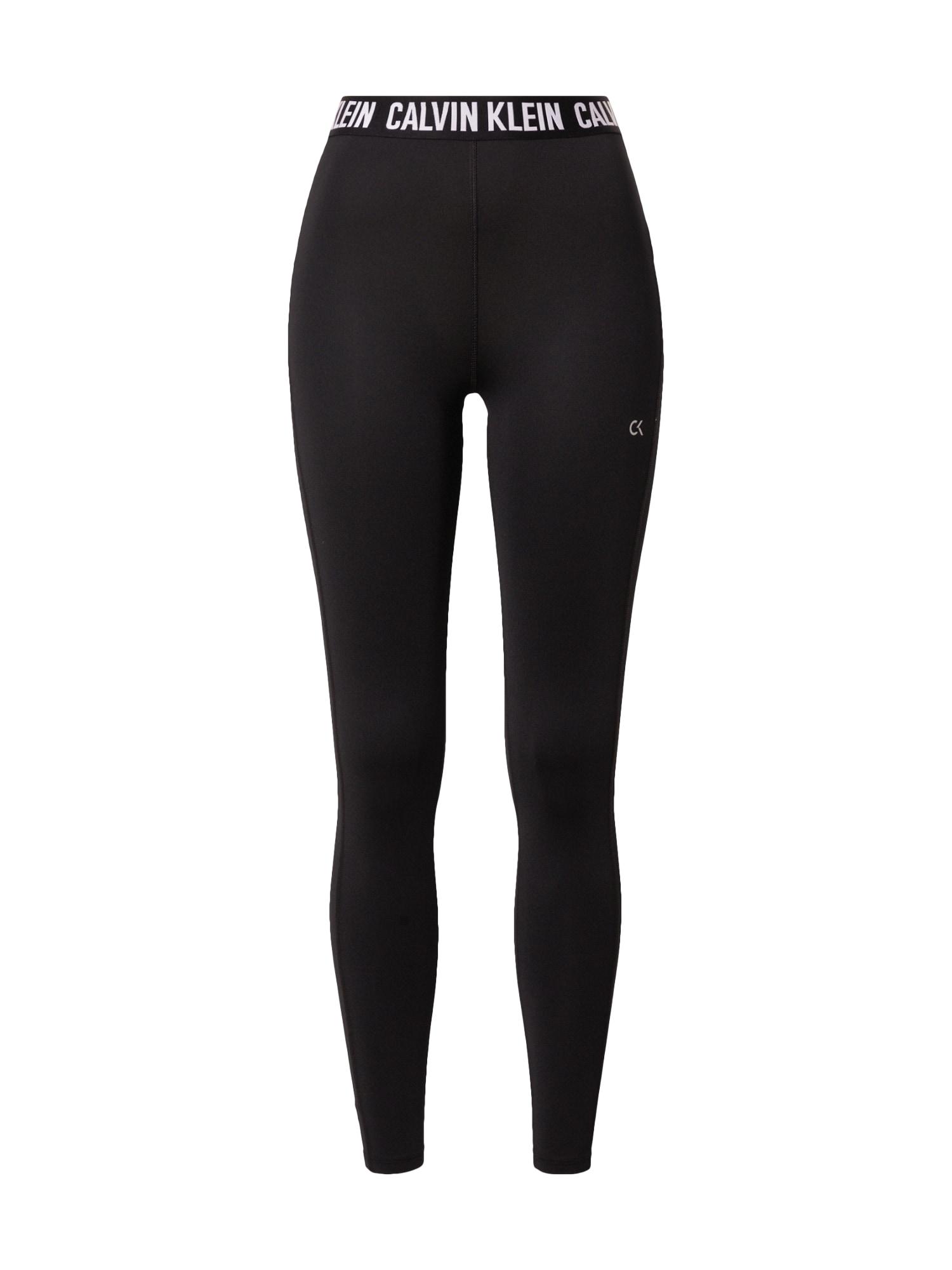 Calvin Klein Performance Sportovní kalhoty  černá / bílá