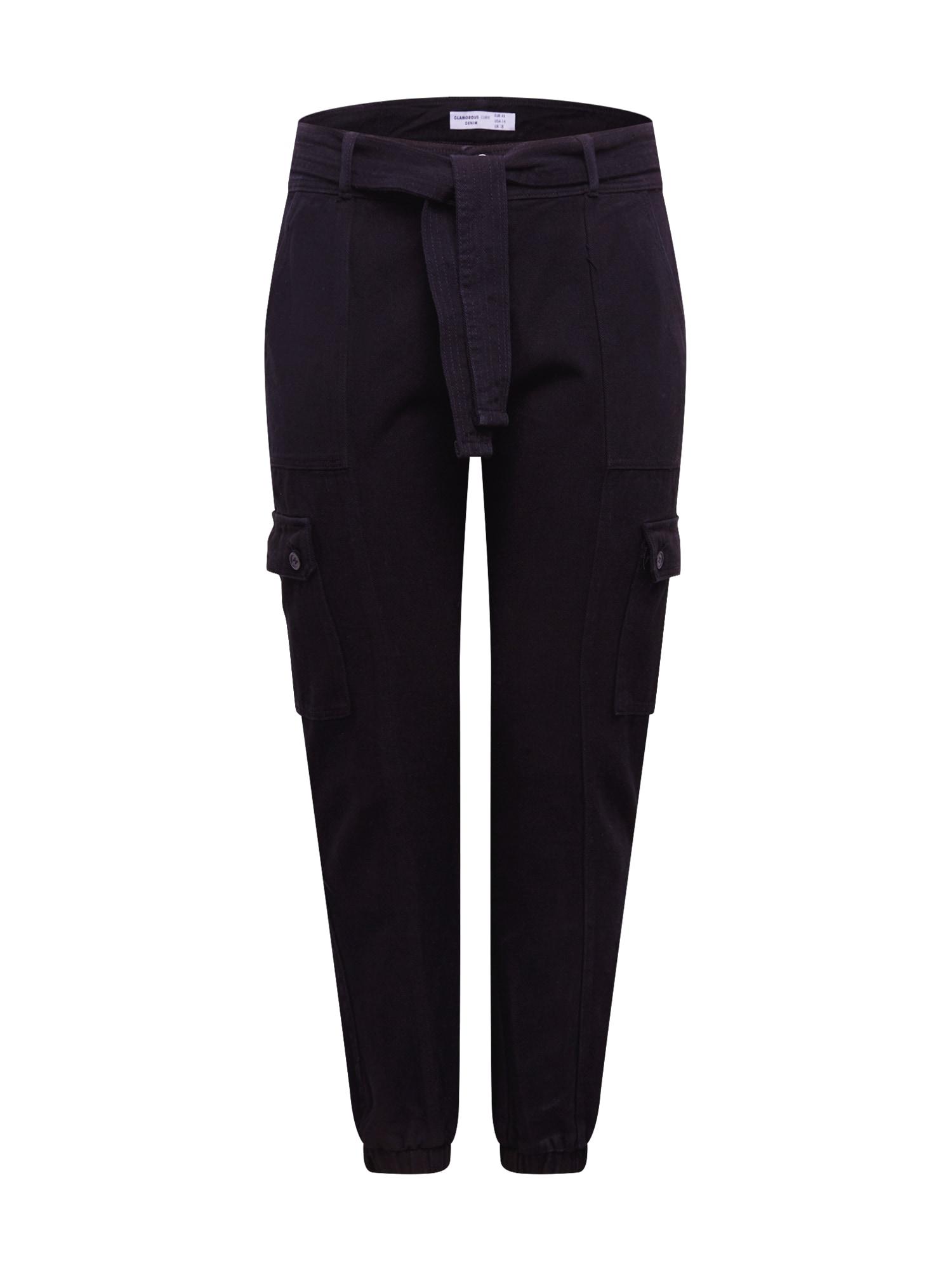 GLAMOROUS CURVE Laisvo stiliaus kelnės juoda