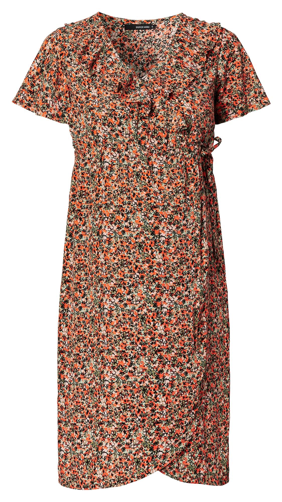Supermom Suknelė oranžinė / rusvai žalia / pastelinė žalia / rožių spalva / juoda