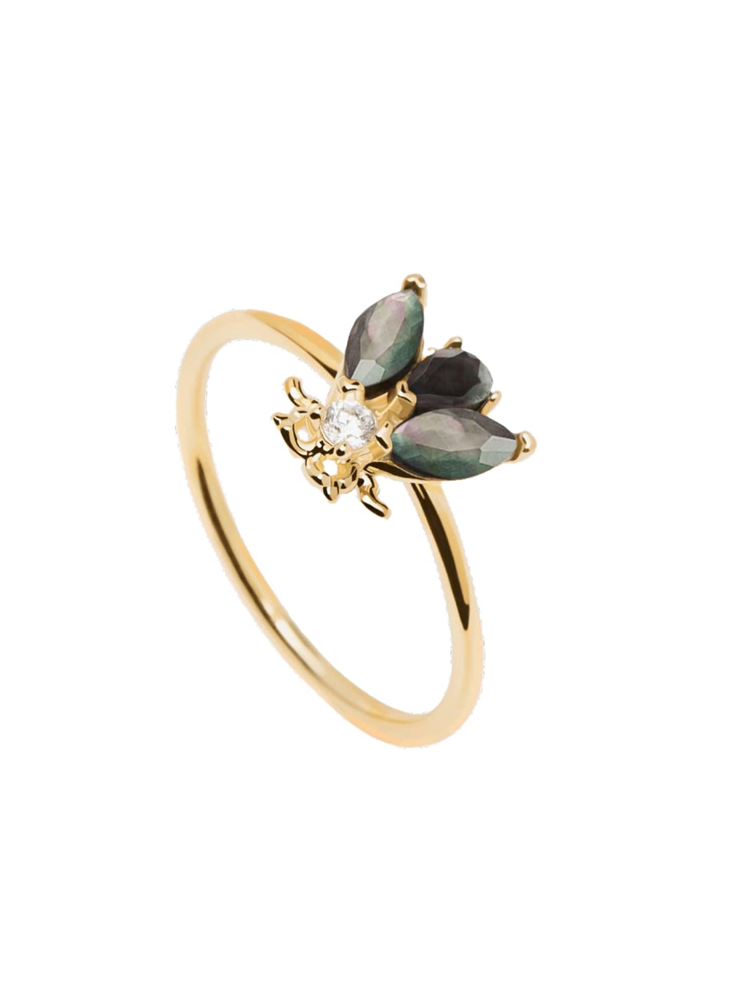 P D PAOLA Žiedas auksas / juoda / tamsiai žalia