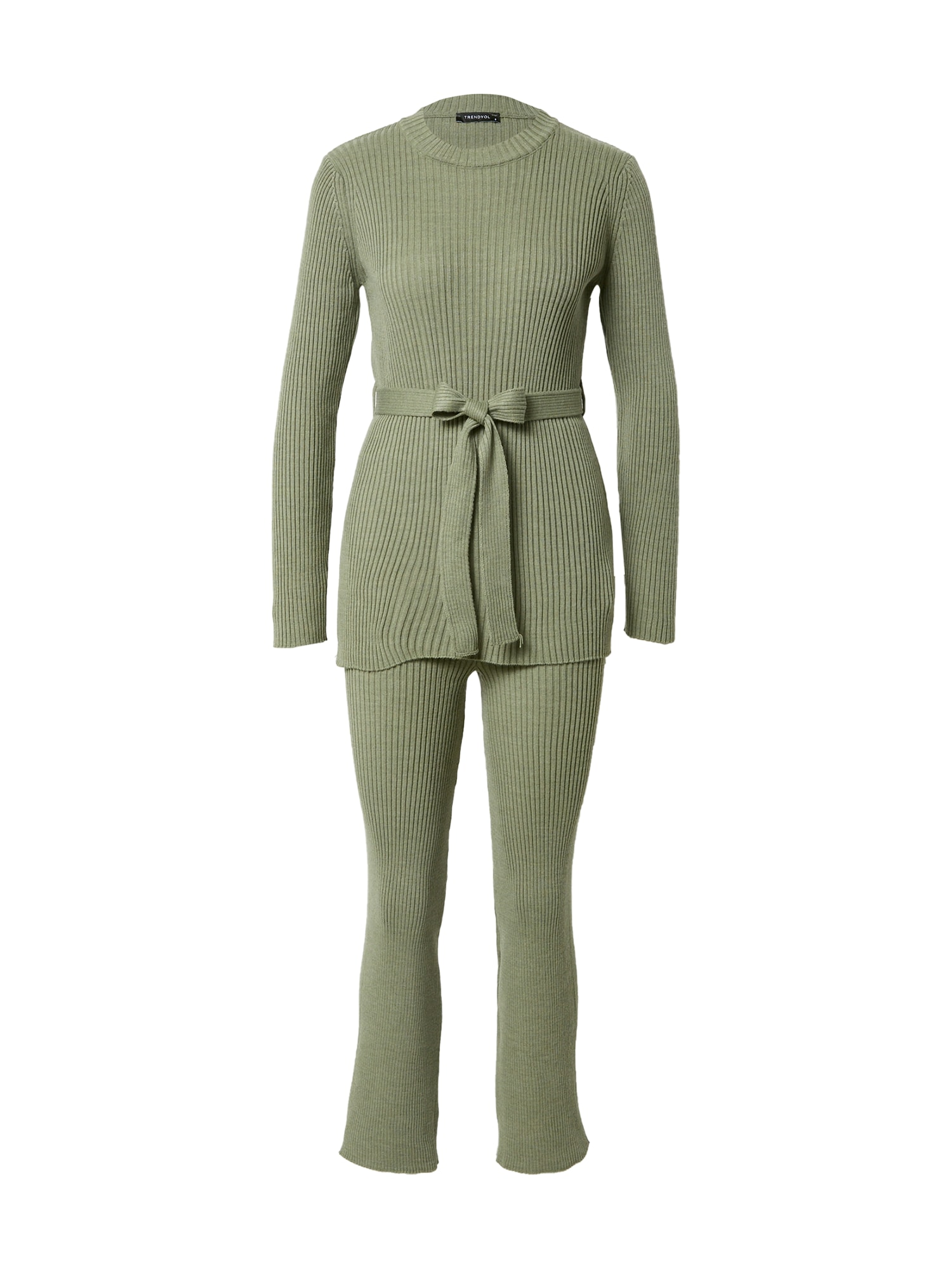 Trendyol Moteriškas kostiumėlis su kelnėmis šviesiai žalia
