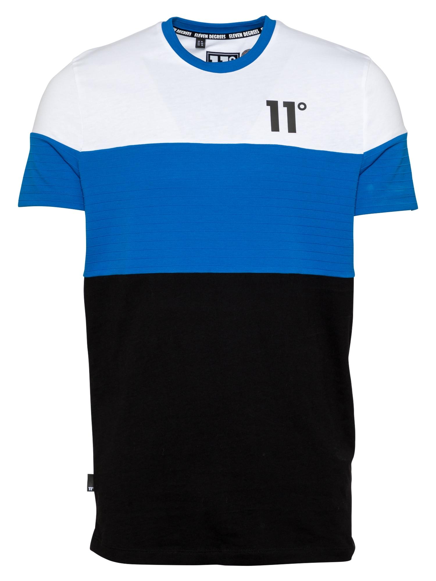 "11 Degrees Marškinėliai balta / juoda / sodri mėlyna (""karališka"")"