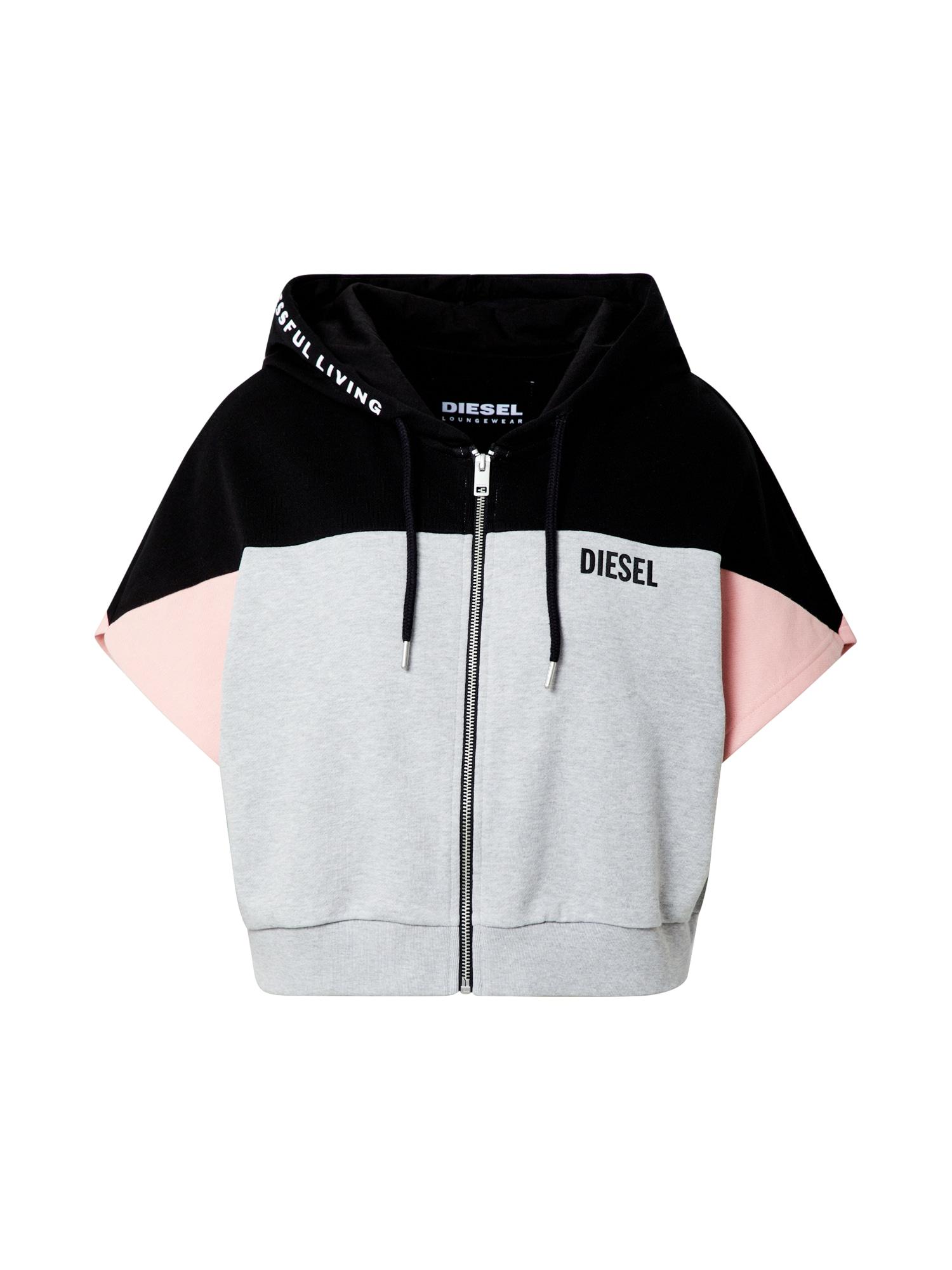 DIESEL Mikina s kapucí  růžová / světle šedá / černá