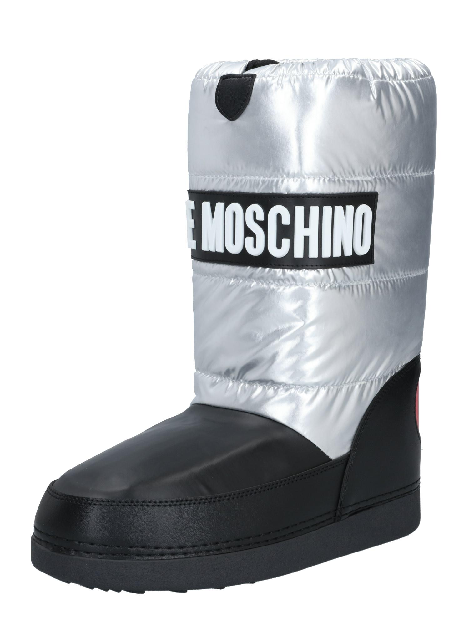 Love Moschino Sněhule  černá / stříbrná