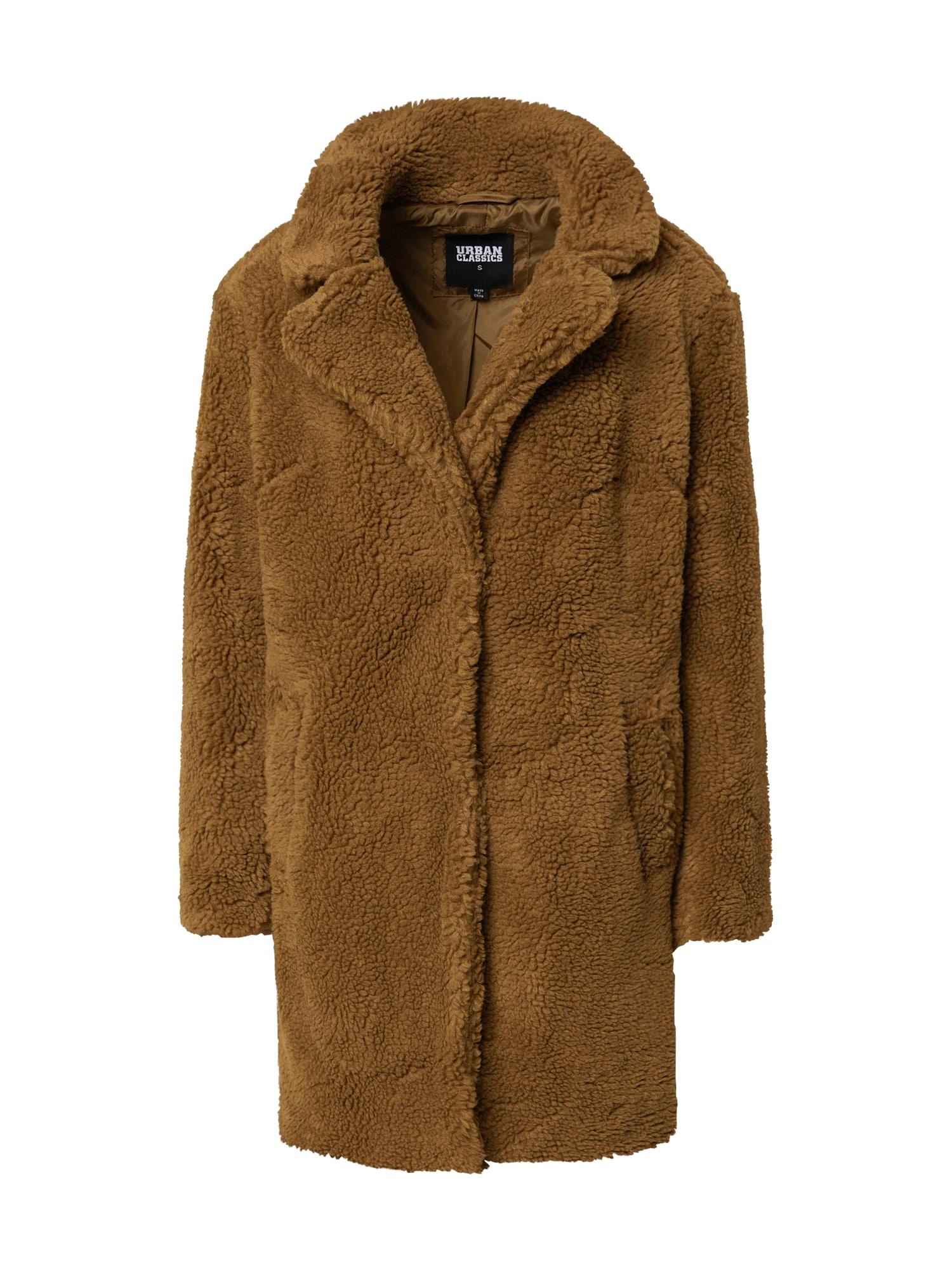 Urban Classics Přechodný kabát 'Ladies Oversized Sherpa Coat'  hnědá