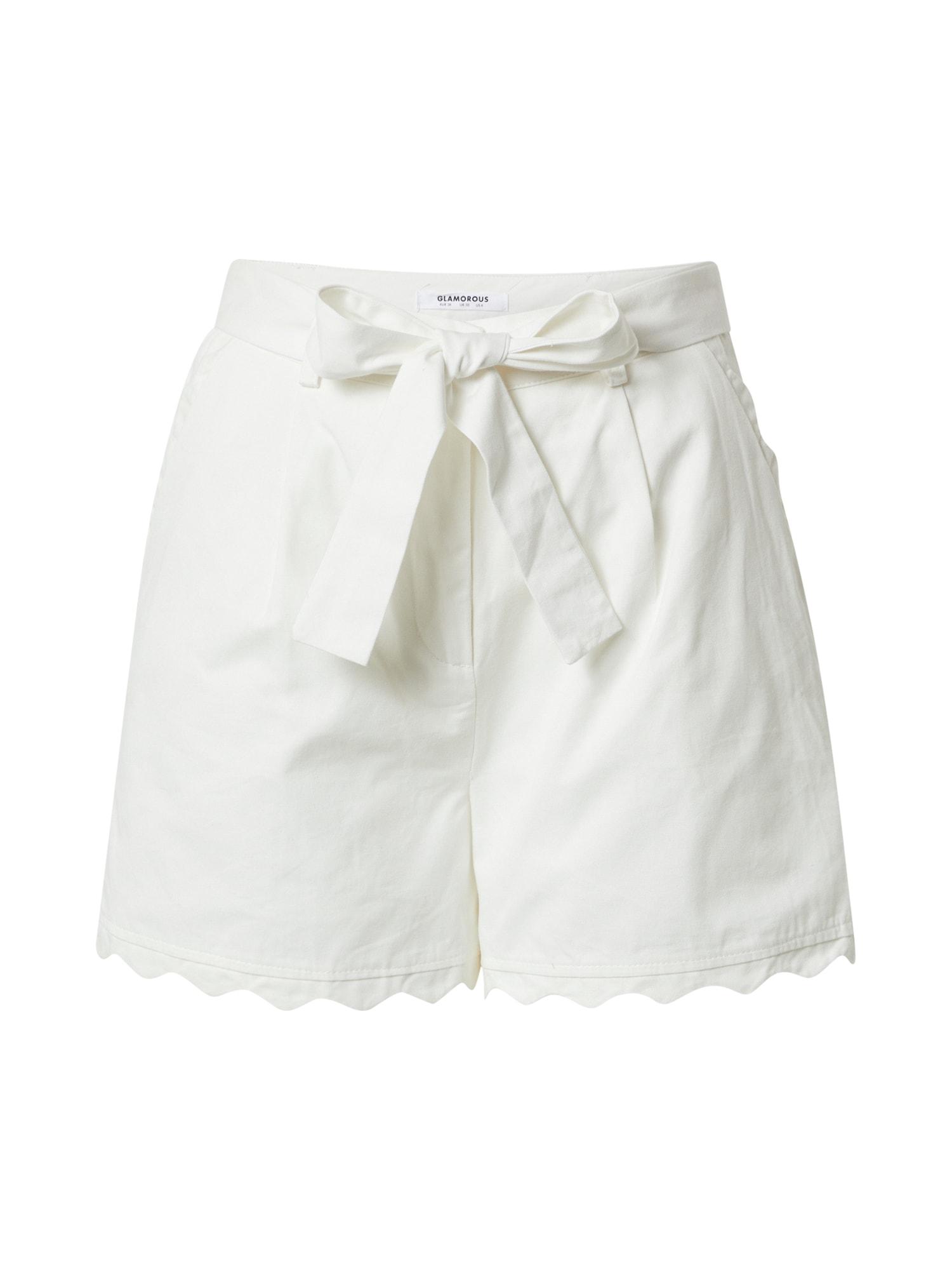 GLAMOROUS Klostuotos kelnės balta