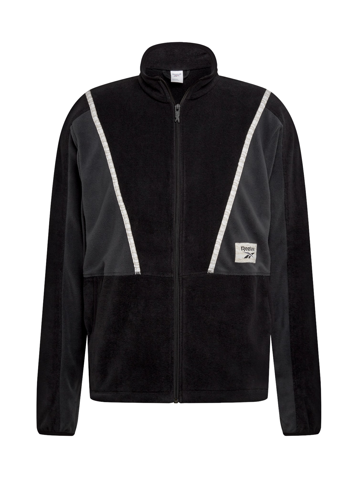 REEBOK Sportinis džemperis juoda / pilka / balta