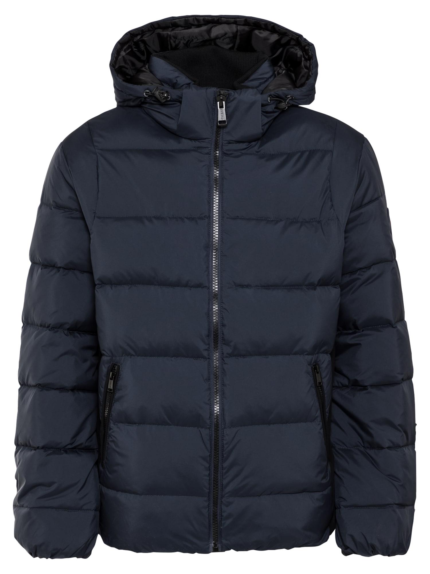GUESS Žieminė striukė tamsiai mėlyna / juoda