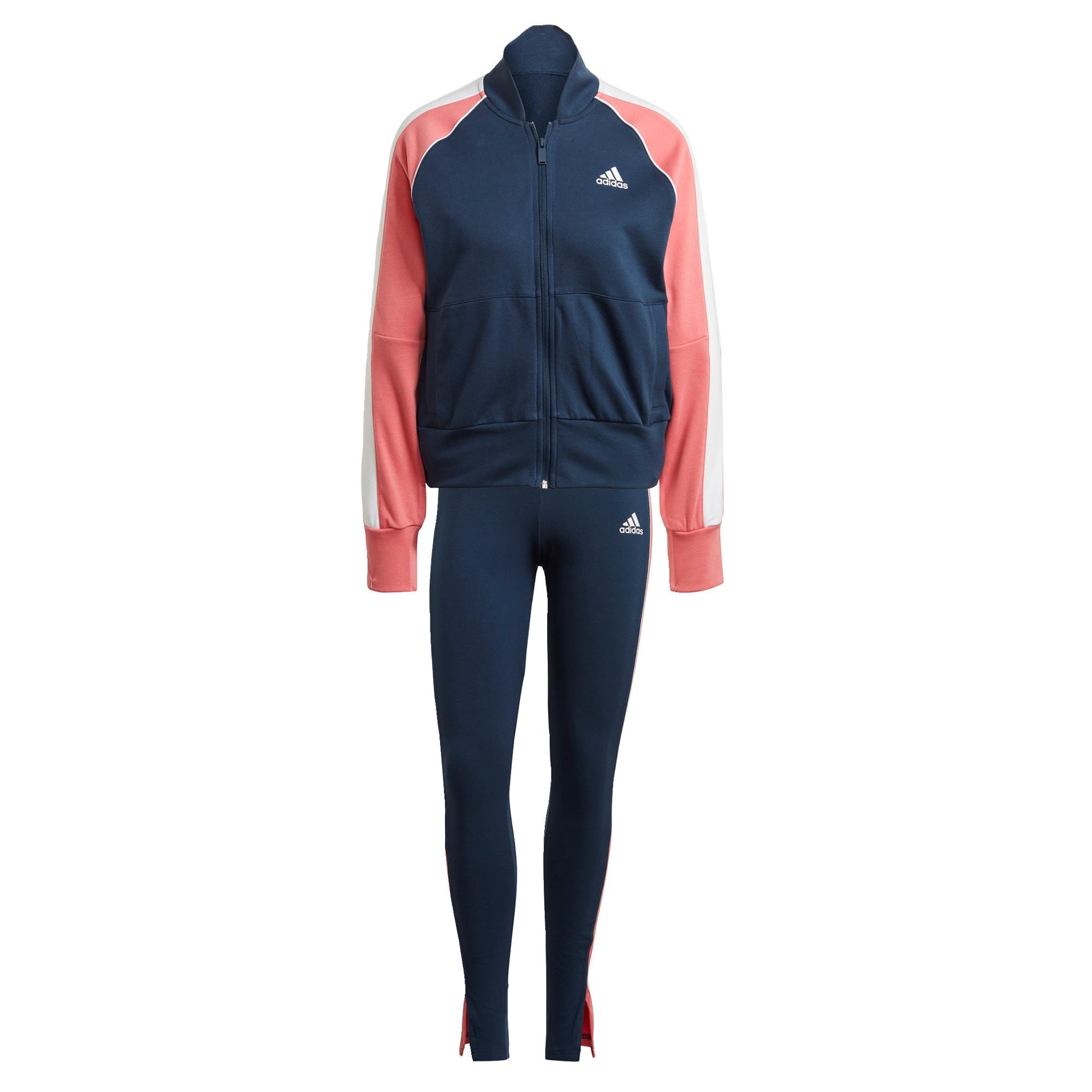 ADIDAS PERFORMANCE Treniruočių kostiumas ryškiai rožinė spalva / tamsiai mėlyna / balta