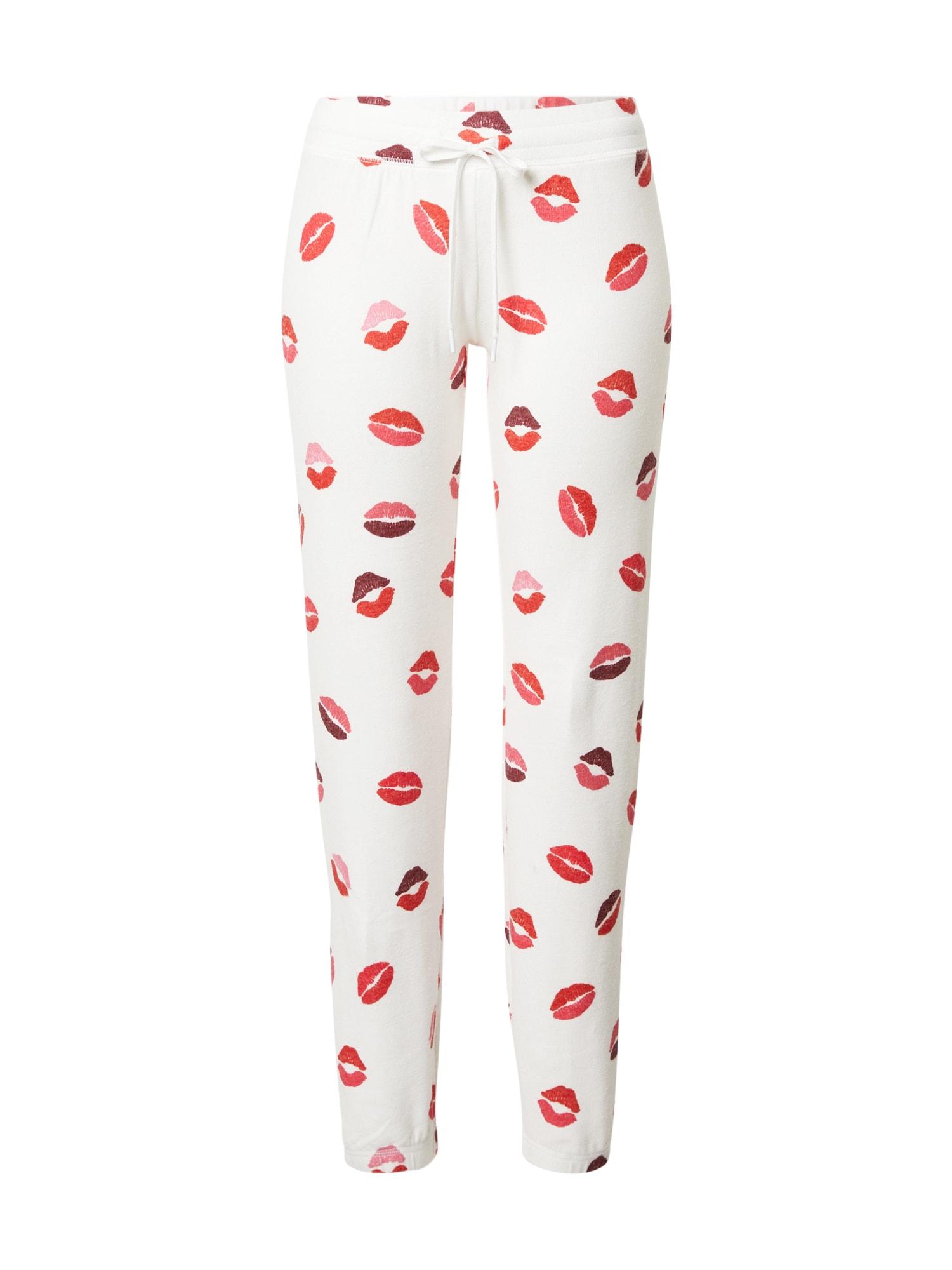 PJ Salvage Pižaminės kelnės vilnos balta / rožinė / raudona / purpurinė