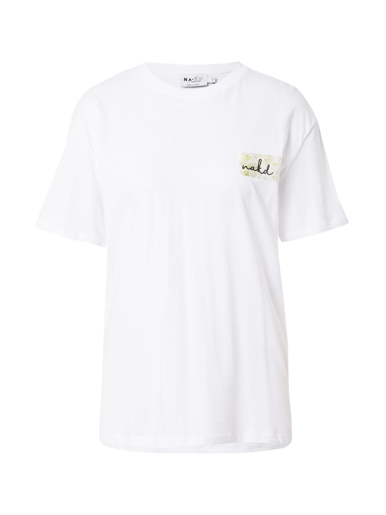 NA-KD Marškinėliai balta / juoda / žalia