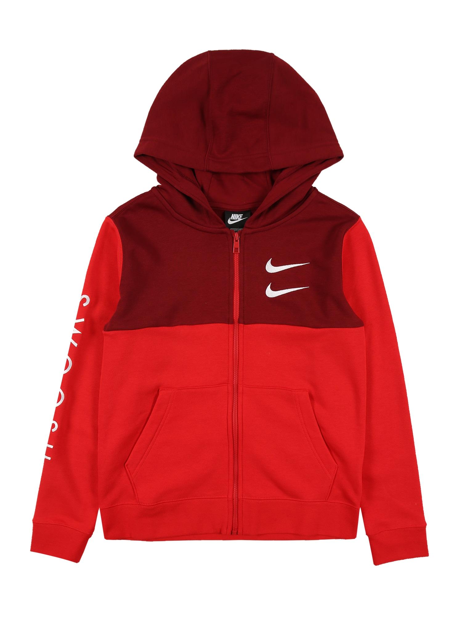 Nike Sportswear Džemperis balta / raudona / kraujo spalva