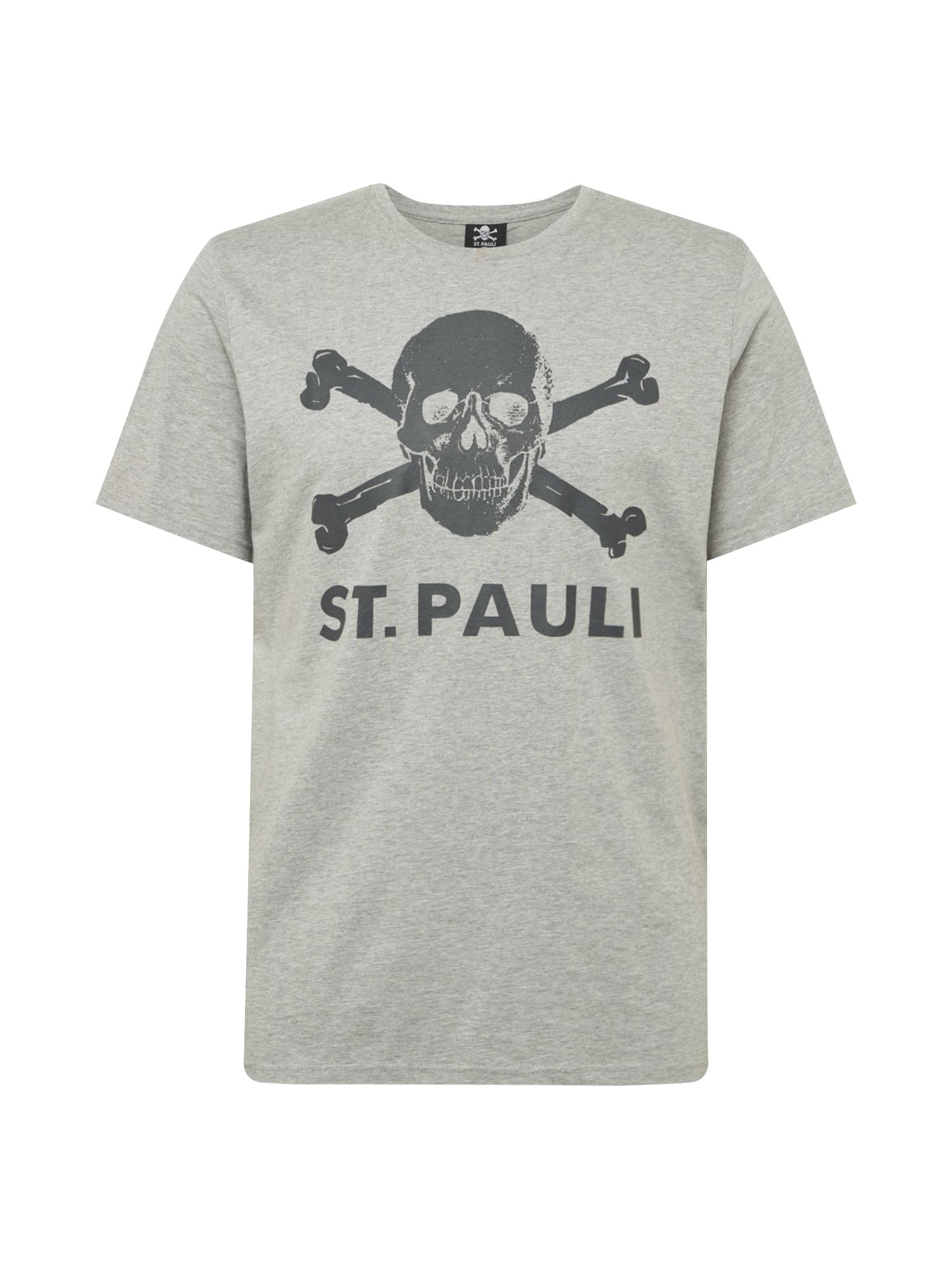 FC St. Pauli Marškinėliai pilka / juoda