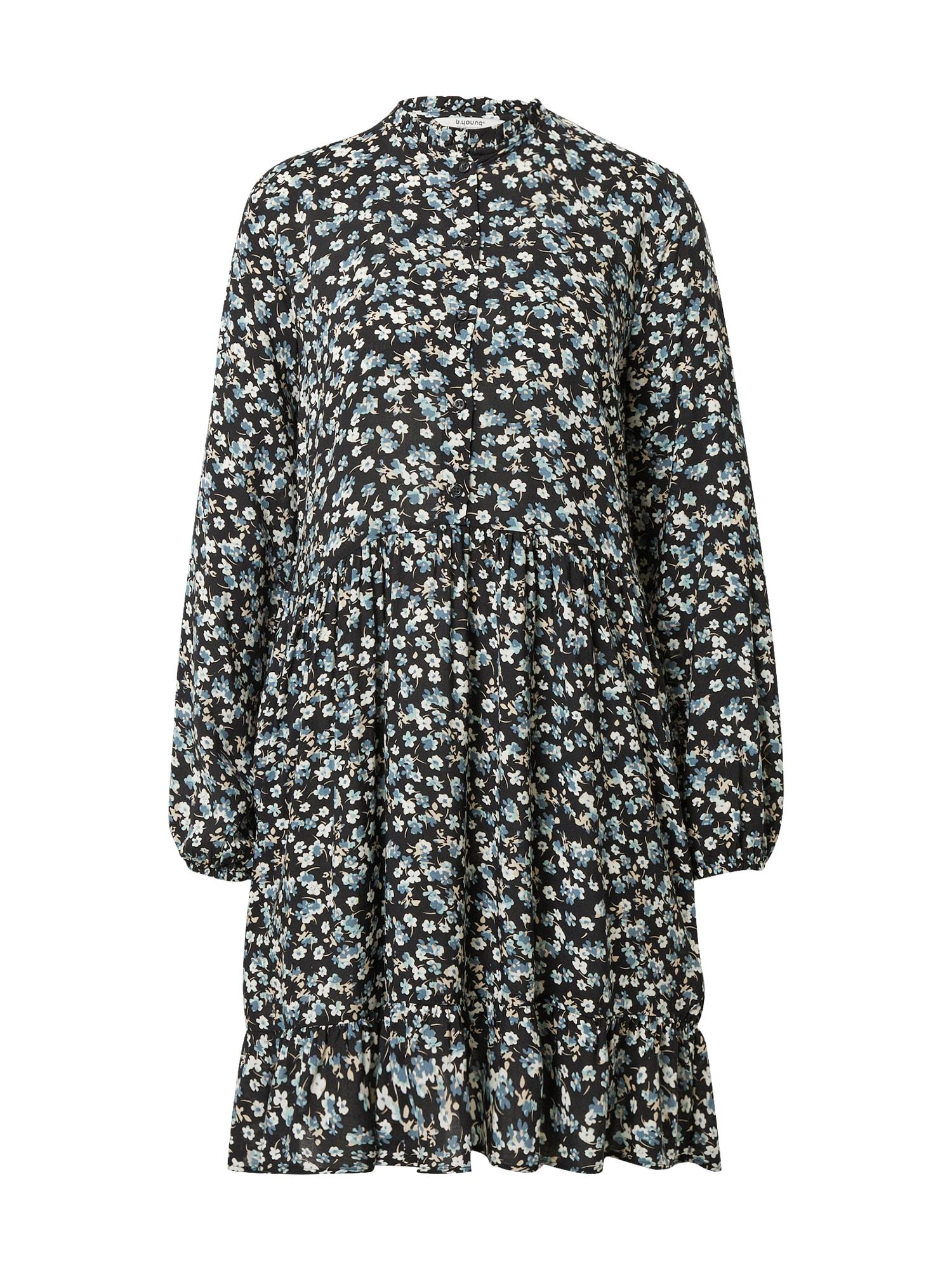 b.young Palaidinės tipo suknelė juoda / balta / smėlio / mėlyna dūmų spalva