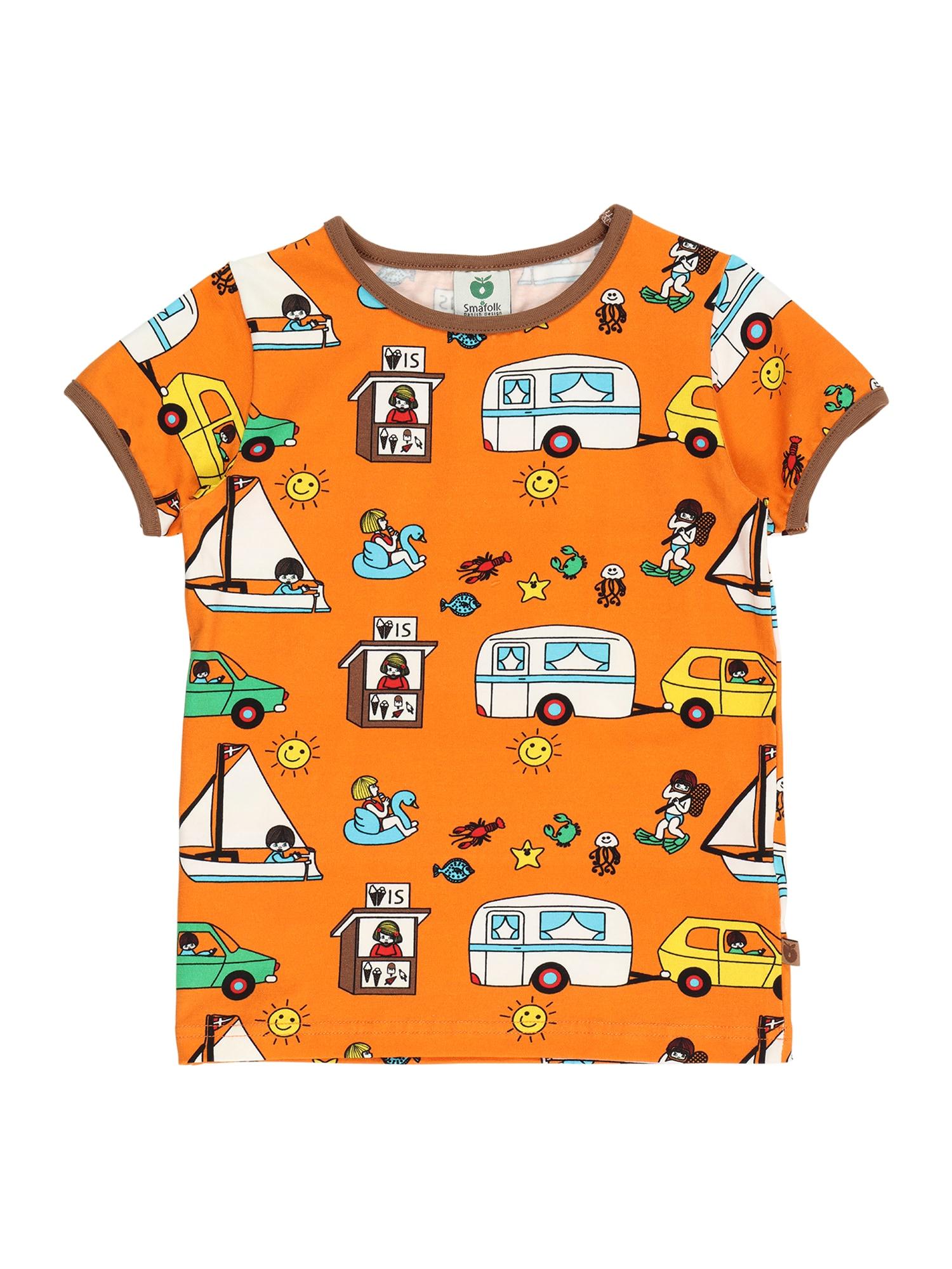 Småfolk Marškinėliai oranžinė / ruda / šviesiai mėlyna / balta / žalia