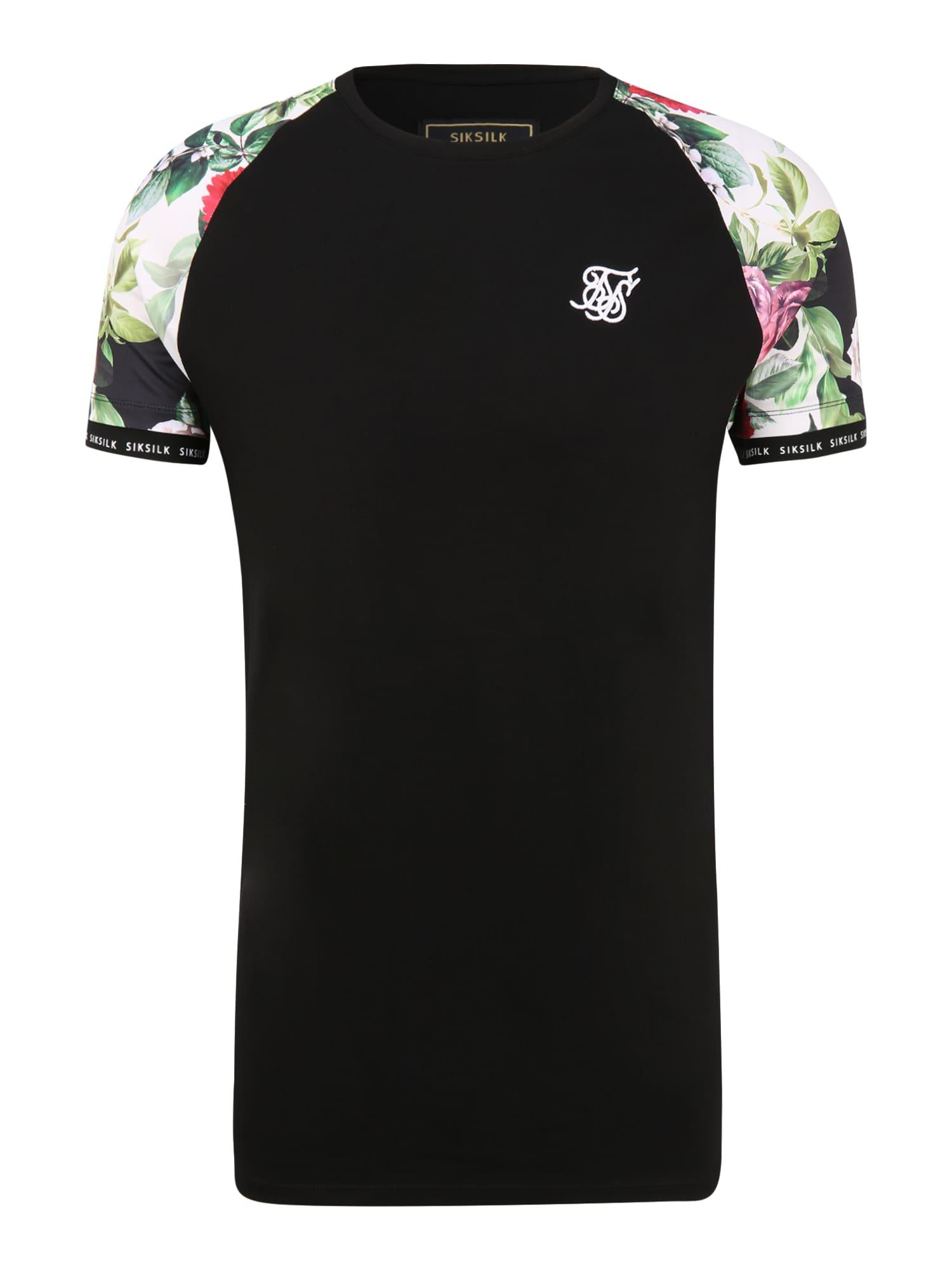 SikSilk Marškinėliai juoda / balta / žalia / koralų splava / rožinė