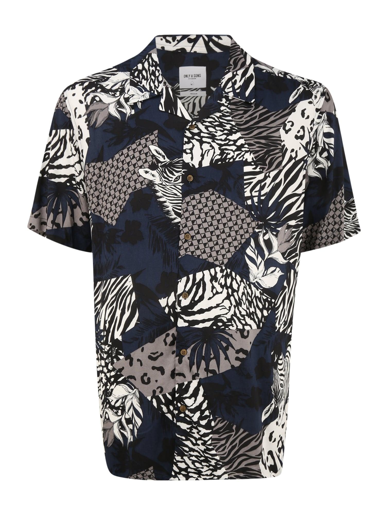 Only & Sons Big & Tall Marškiniai tamsiai mėlyna / akmens / balta / kobalto mėlyna