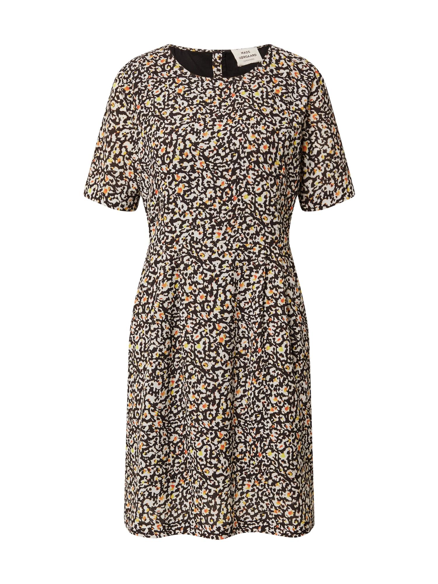 MADS NORGAARD COPENHAGEN Vasarinė suknelė 'Recina Deily' gelsvai pilka spalva / juoda / balta