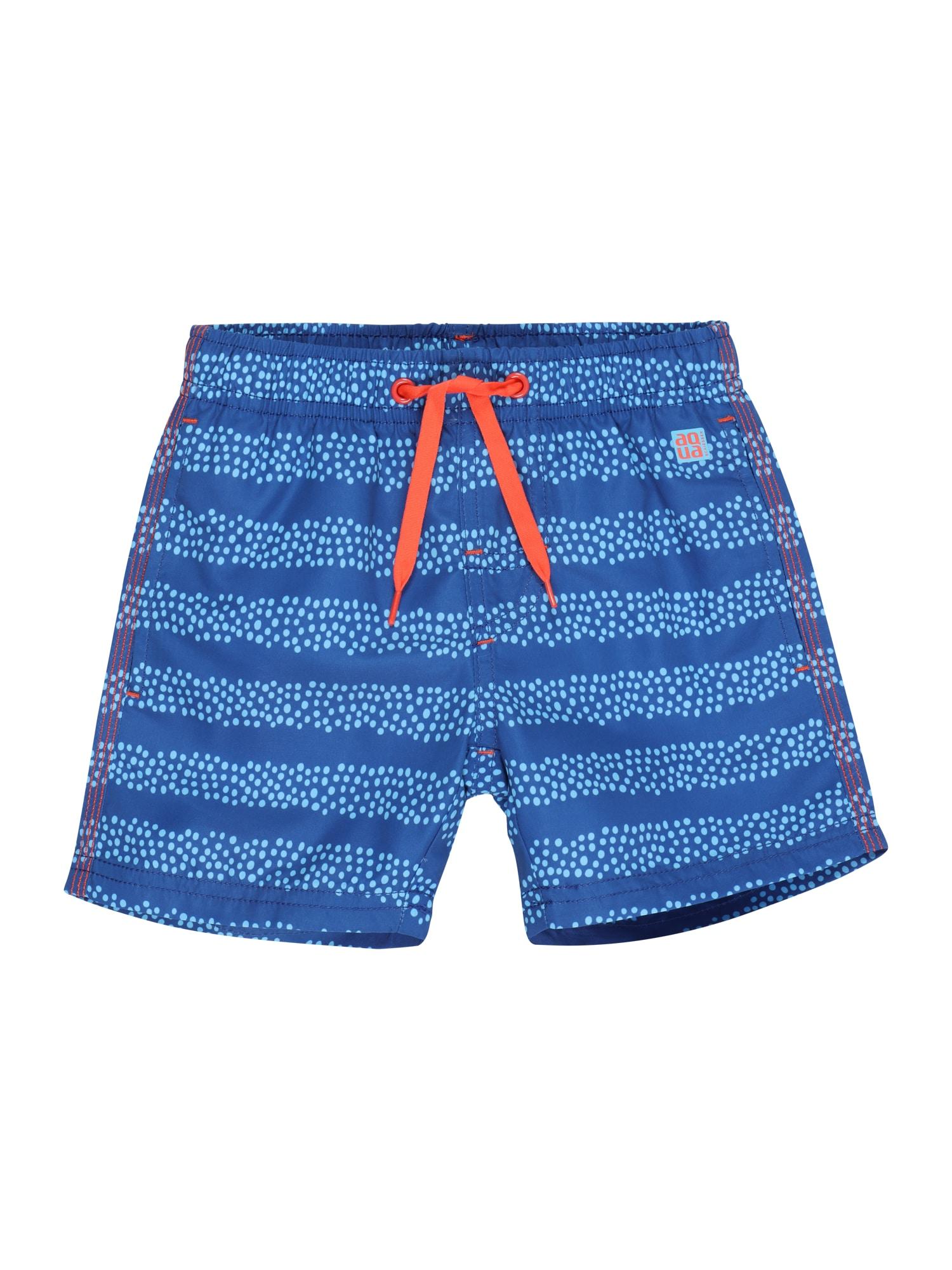 SCHIESSER Plavecké šortky  modrá / světlemodrá / tmavě oranžová