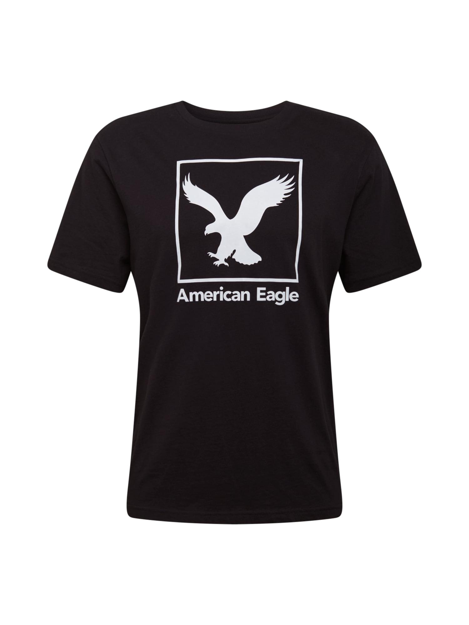 American Eagle Tričko  černá / bílá