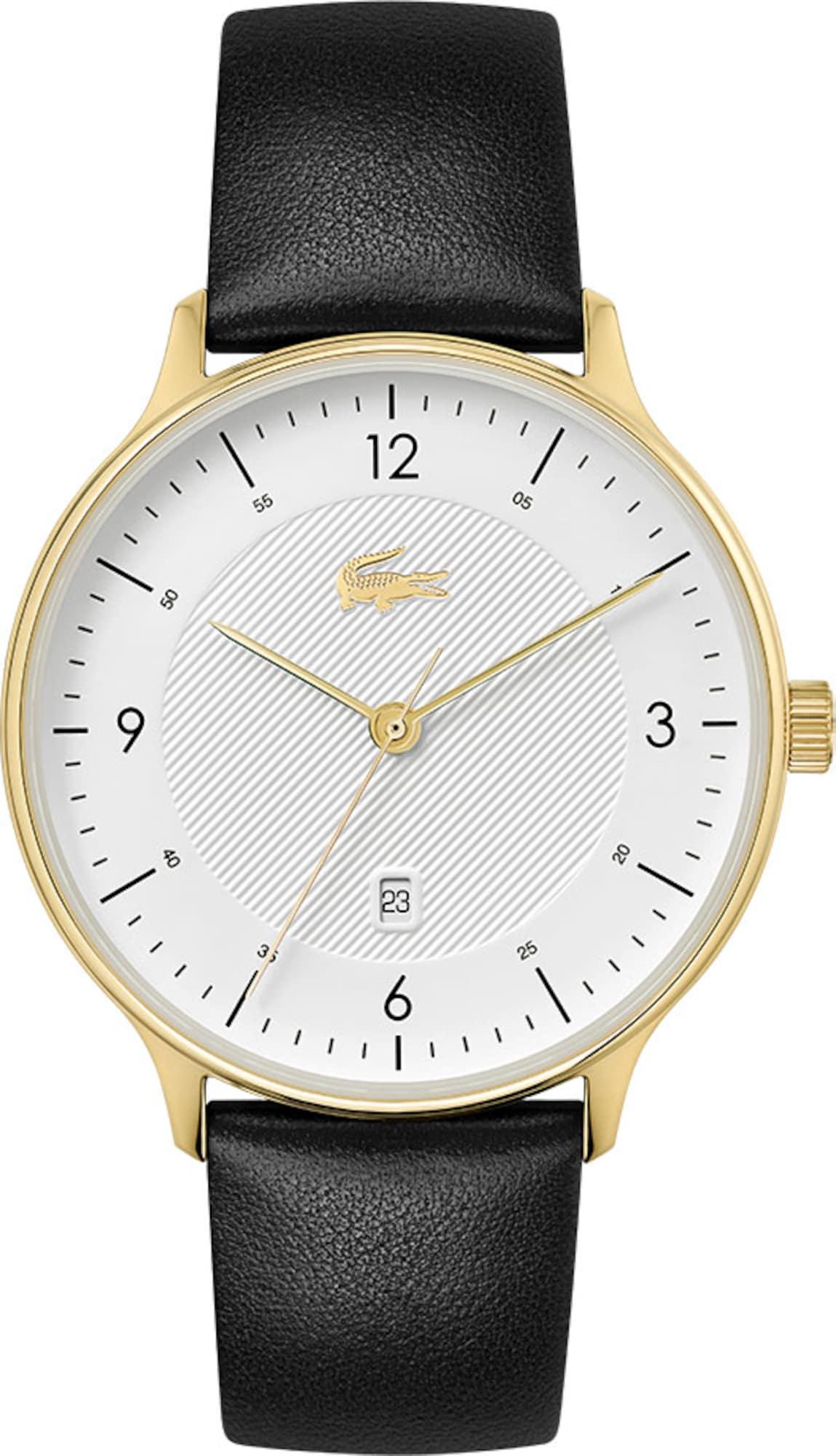 LACOSTE Analoginis (įprasto dizaino) laikrodis juoda / balta / auksas
