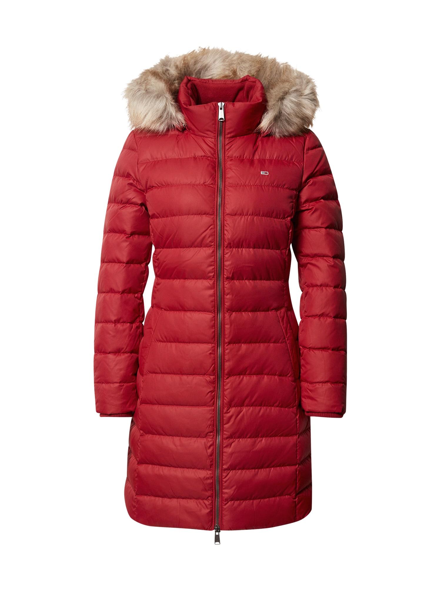 Tommy Jeans Zimní kabát 'Essential'  vínově červená
