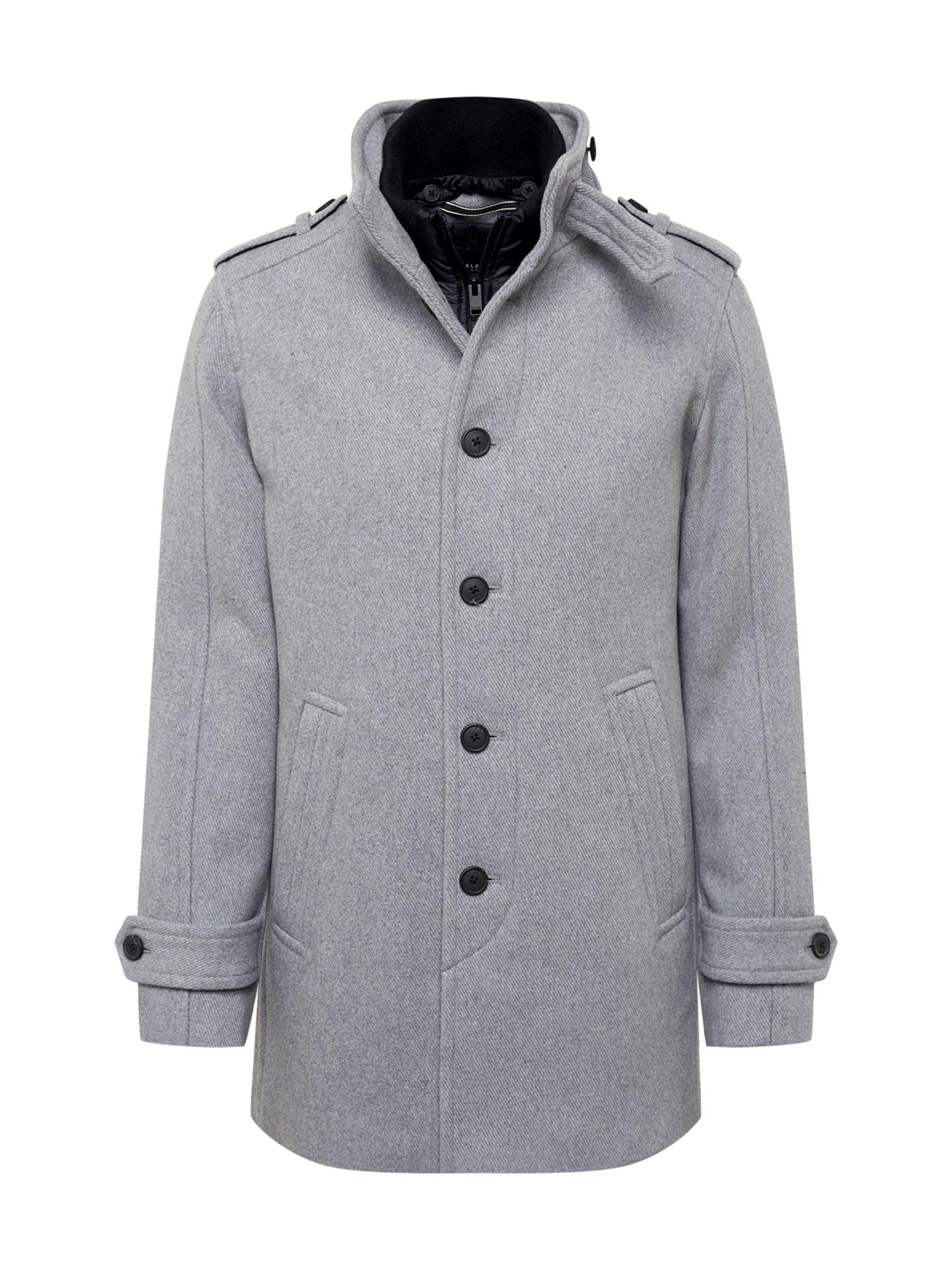 SELECTED HOMME Rudeninis-žieminis paltas margai pilka
