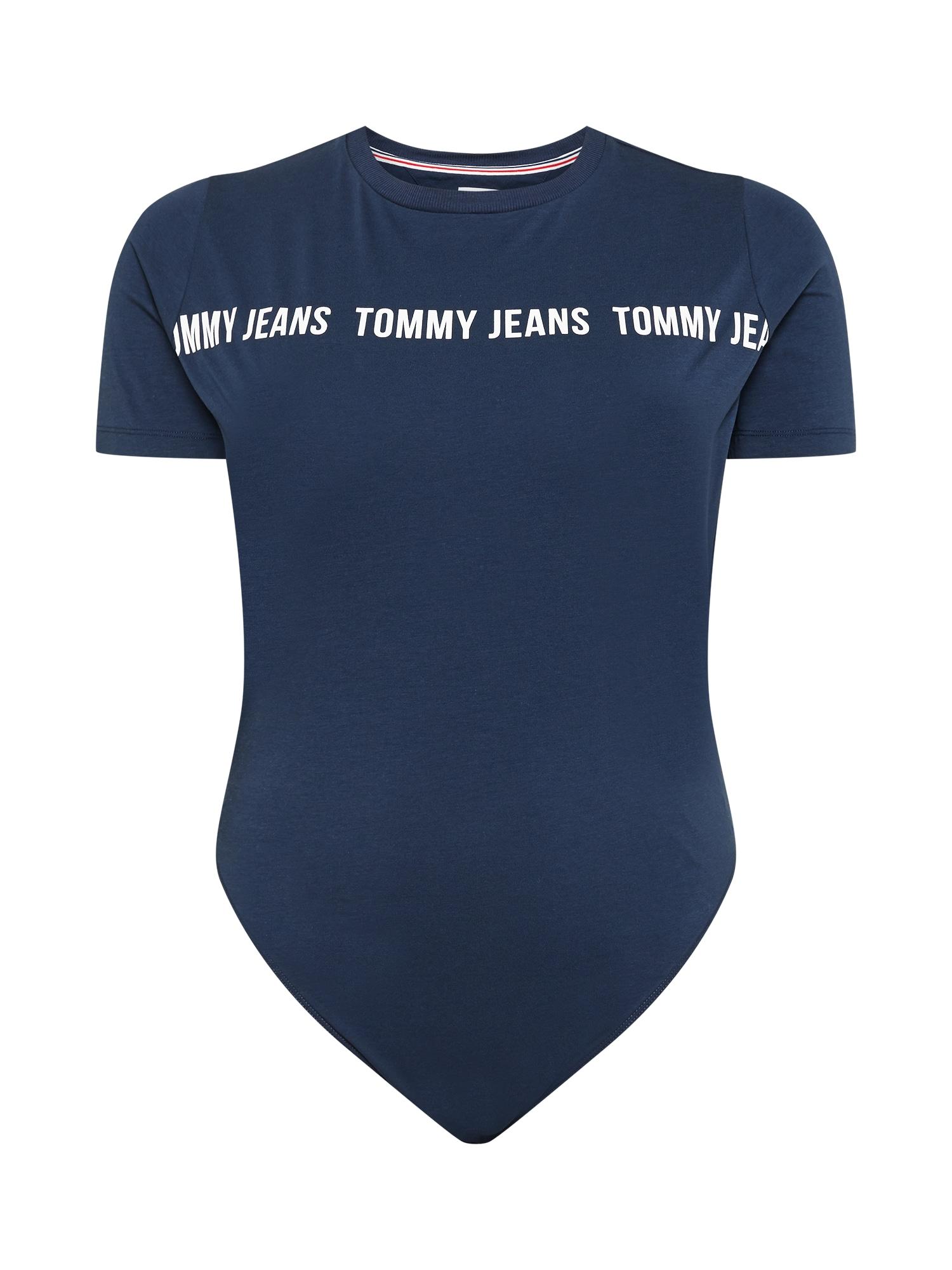 Tommy Jeans Curve Marškinėliai-glaustinukė tamsiai mėlyna / balta