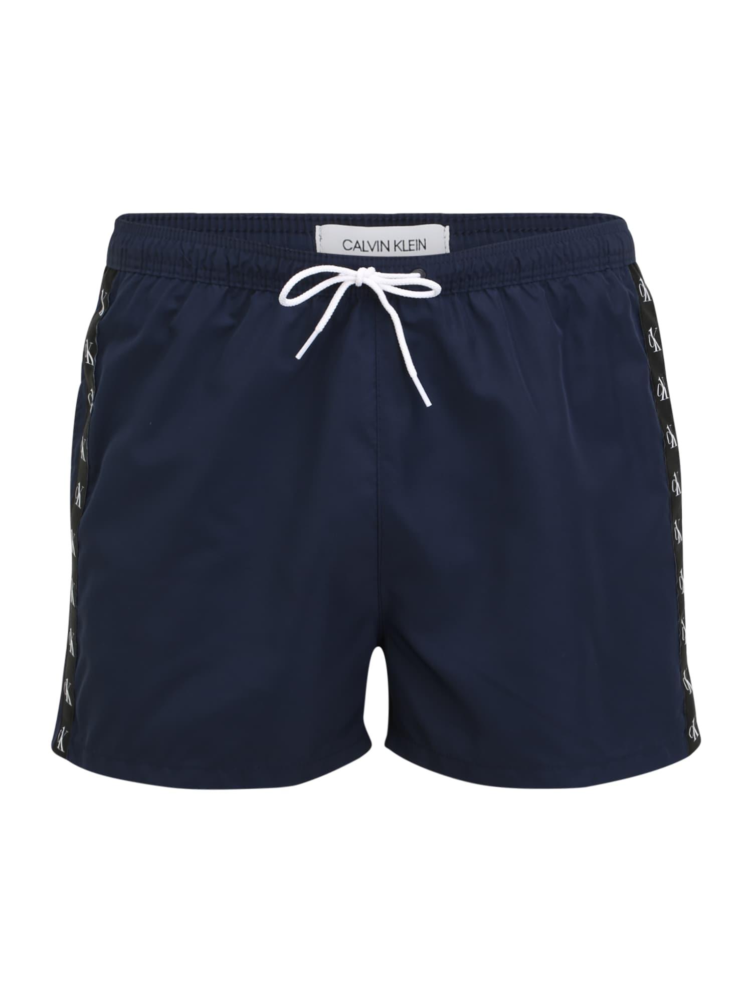 Calvin Klein Swimwear Maudymosi trumpikės juoda / tamsiai mėlyna / balta