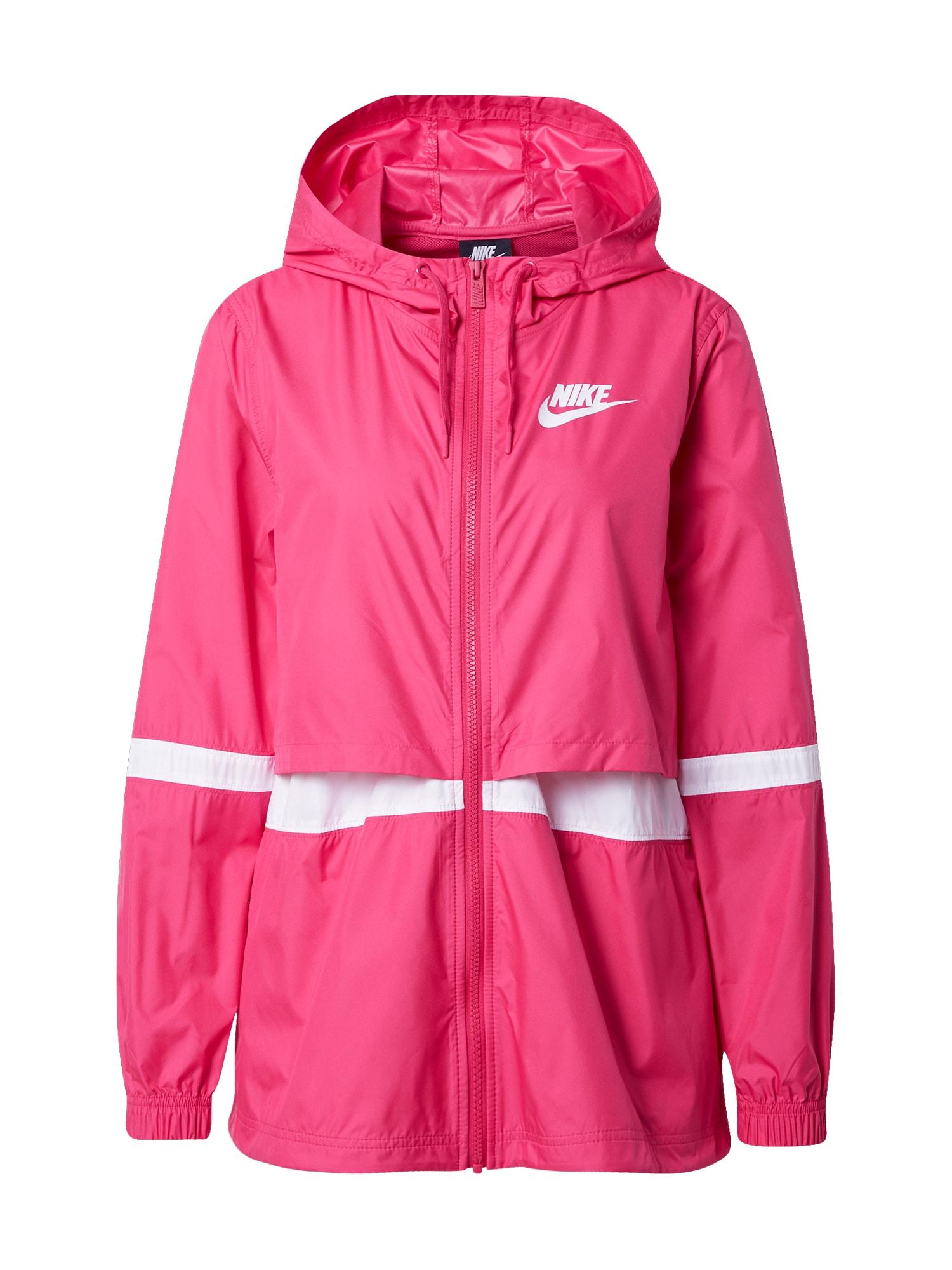 Nike Sportswear Demisezoninė striukė balta / tamsiai rožinė