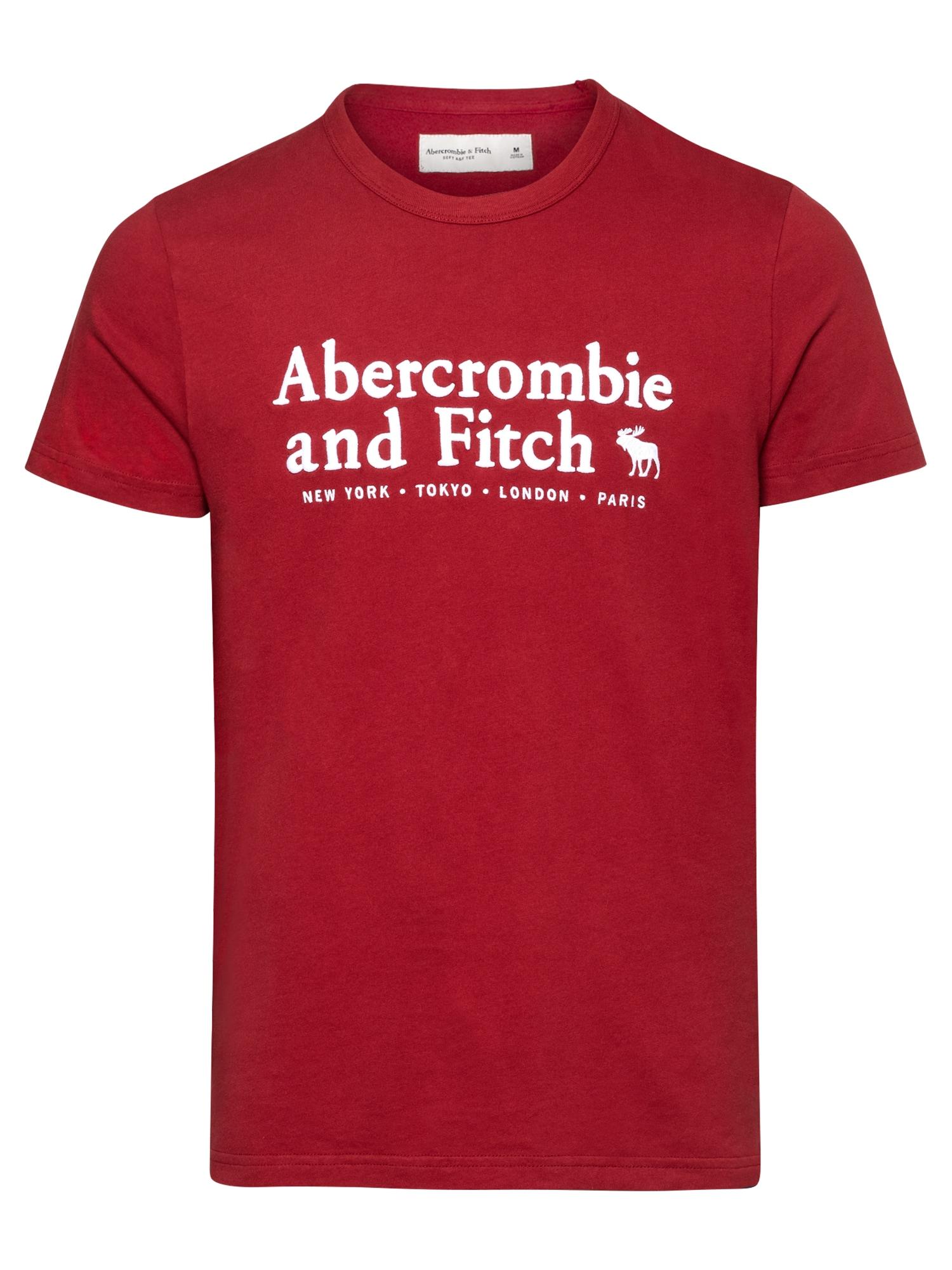 Abercrombie & Fitch Marškinėliai balta / margai raudona